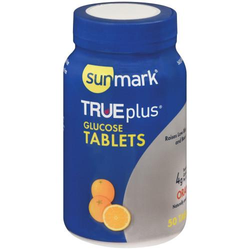 sunmark TRUEplus Chewable Gluclose Tablets, Orange Flavor, 4g, 56151161051, 1 Bottle
