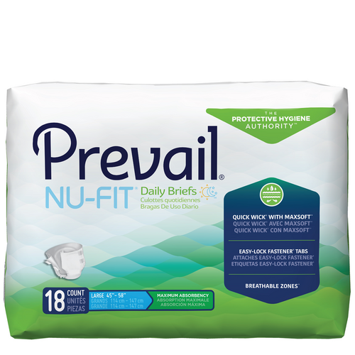 Prevail Nu-Fit Adult Diapers with Tabs, Maximum
