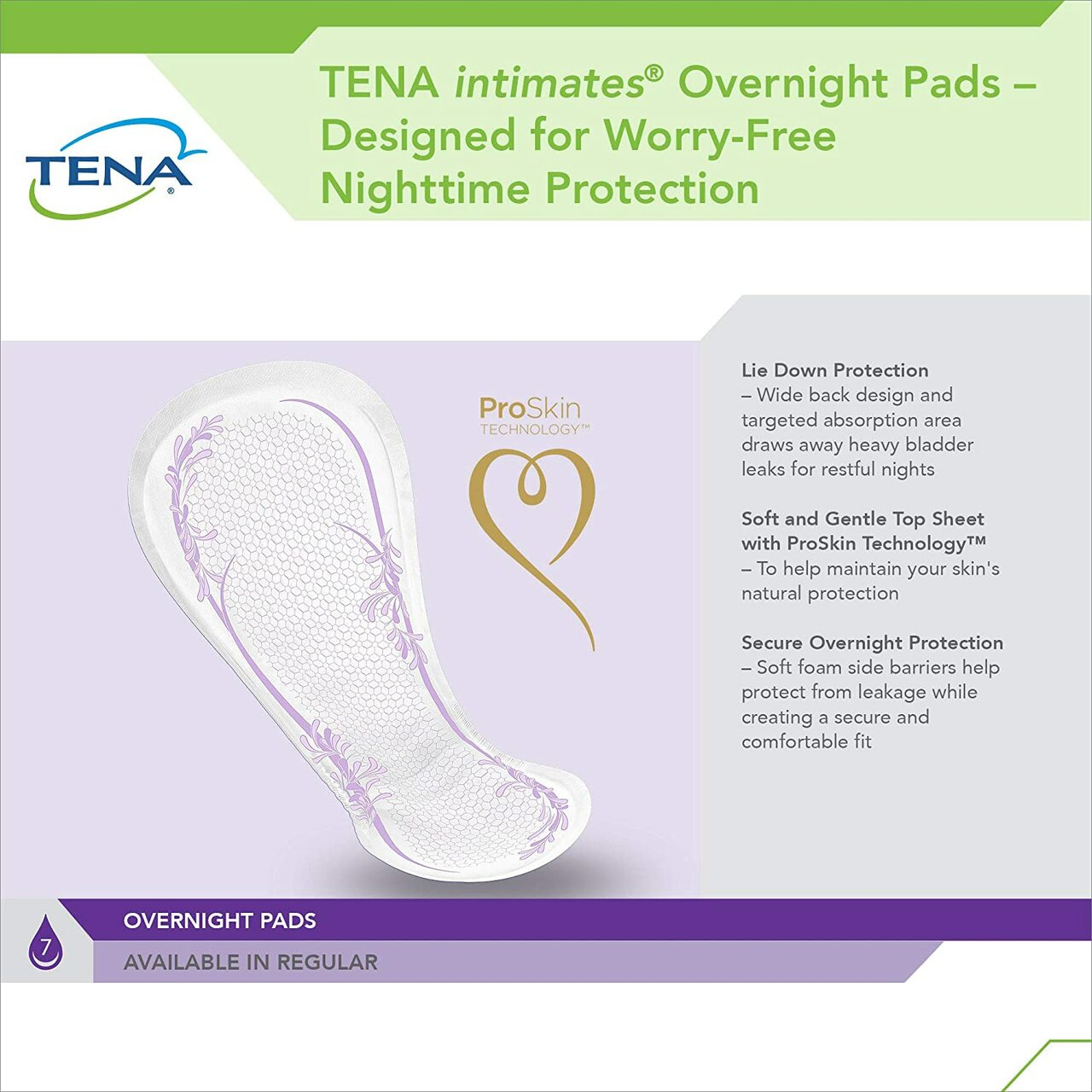 tena intimates overnight pads product specifications