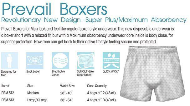 Prevail Pull-Up Diaper Boxers for Men, Maximum