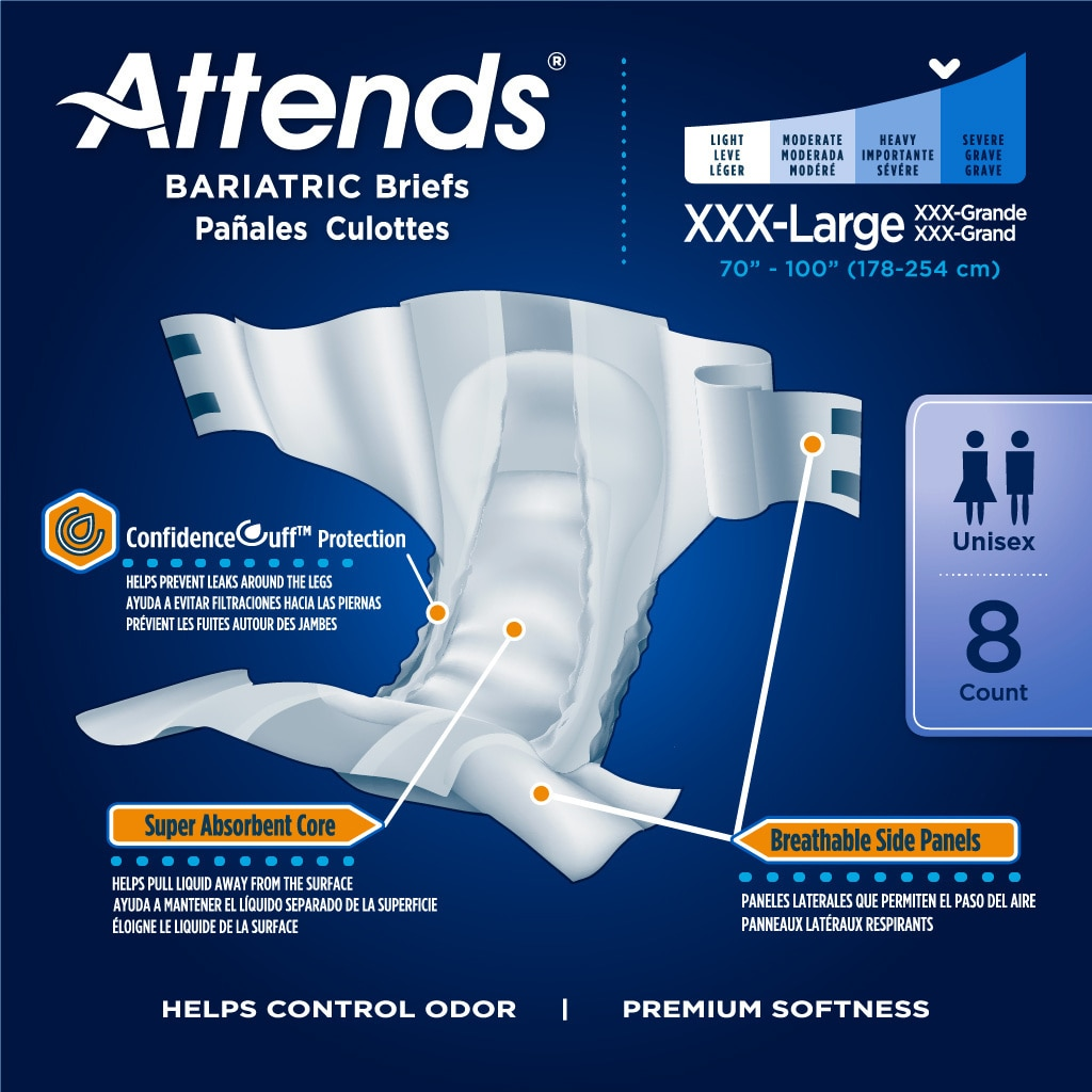 attends bariatric briefs with tabs product specifications
