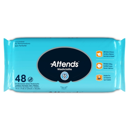 Attends Personal Wipes with Aloe, Unscented
