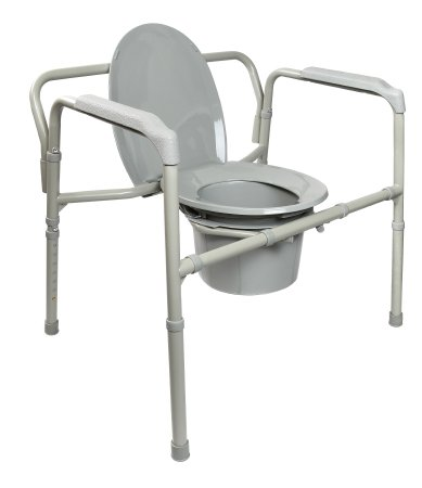 McKesson Bariatric Folding Commode Chair with Fixed Arm
