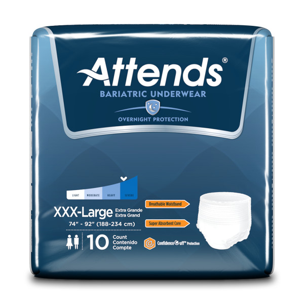 Attends Bariatric Underwear, 3X-Large, Overnight Protection