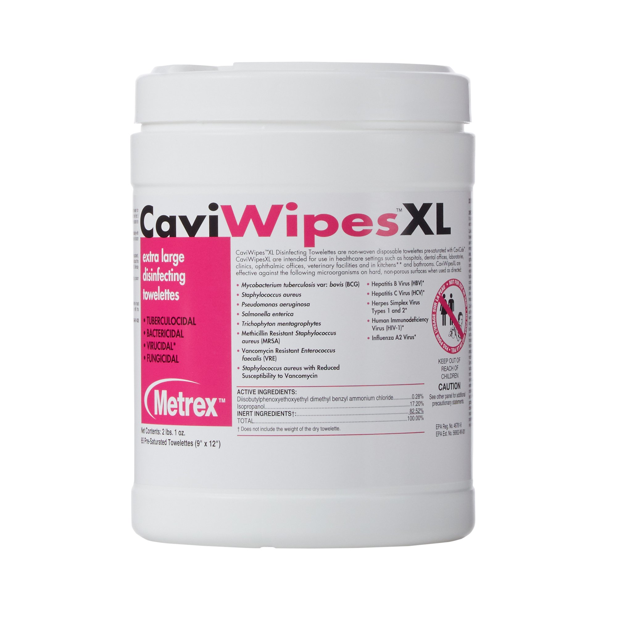CaviWipes Surface Disinfectant Wipes XL, 13-1150-CN1, 1 Canister