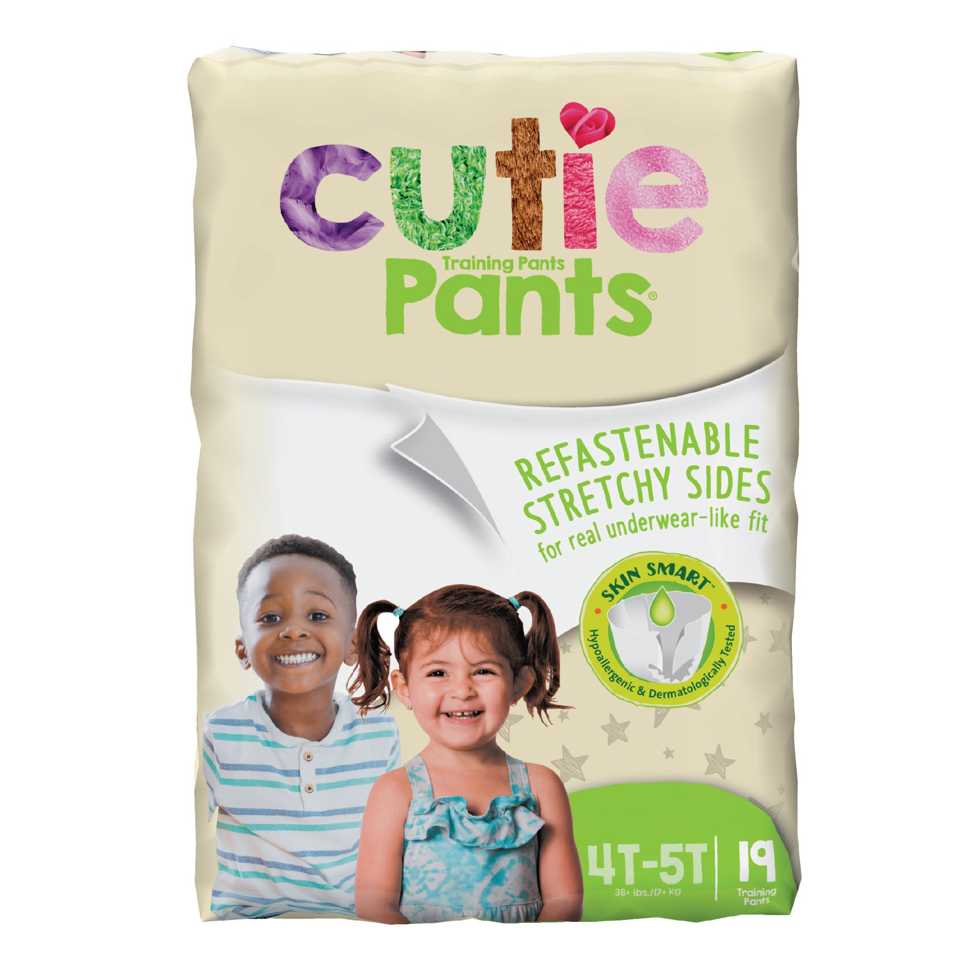 Cutie Pants Toddler Disposable Training Pants Pull ups, Heavy, WP9001/1, Size 4T-5T Over 35 lbs - Pack of 19