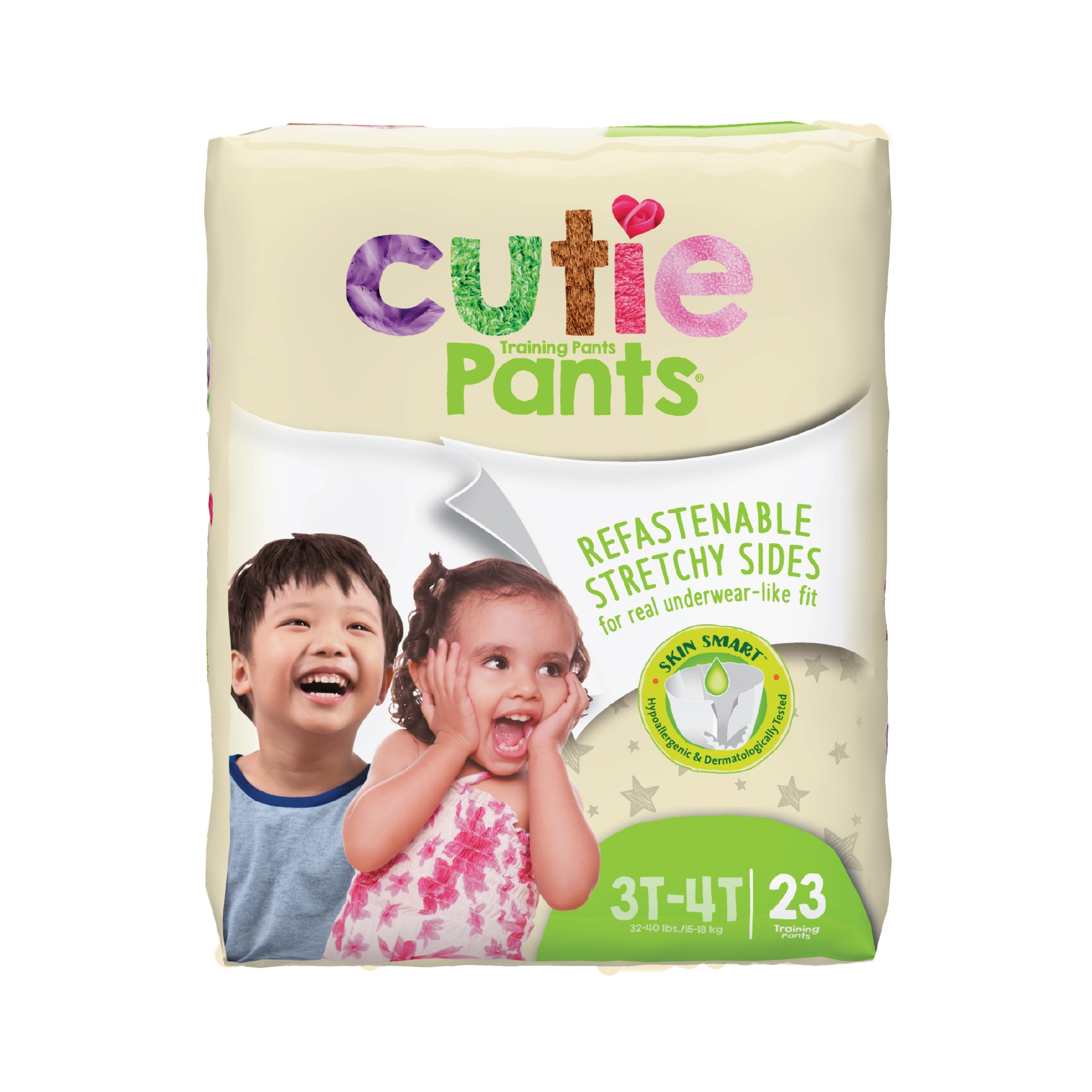 Cutie Pants Toddler Disposable Training Pants Pull ups, Heavy, WP8001/1, Size 3T-4T 32-40 lbs - Pack of 23