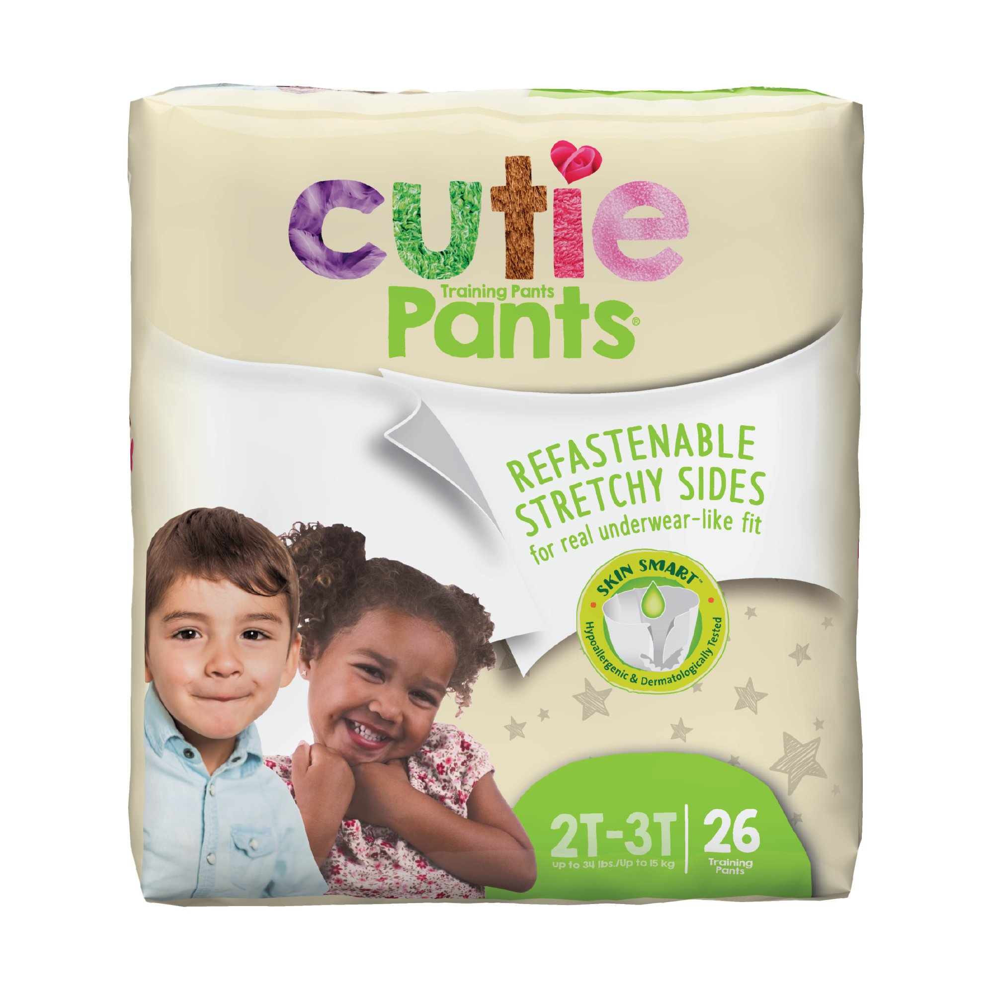 Cutie Pants Toddler Disposable Training Pants Pull ups, Heavy, WP7001/1, Size 2T-3T Up to 34 lbs - Pack of 26