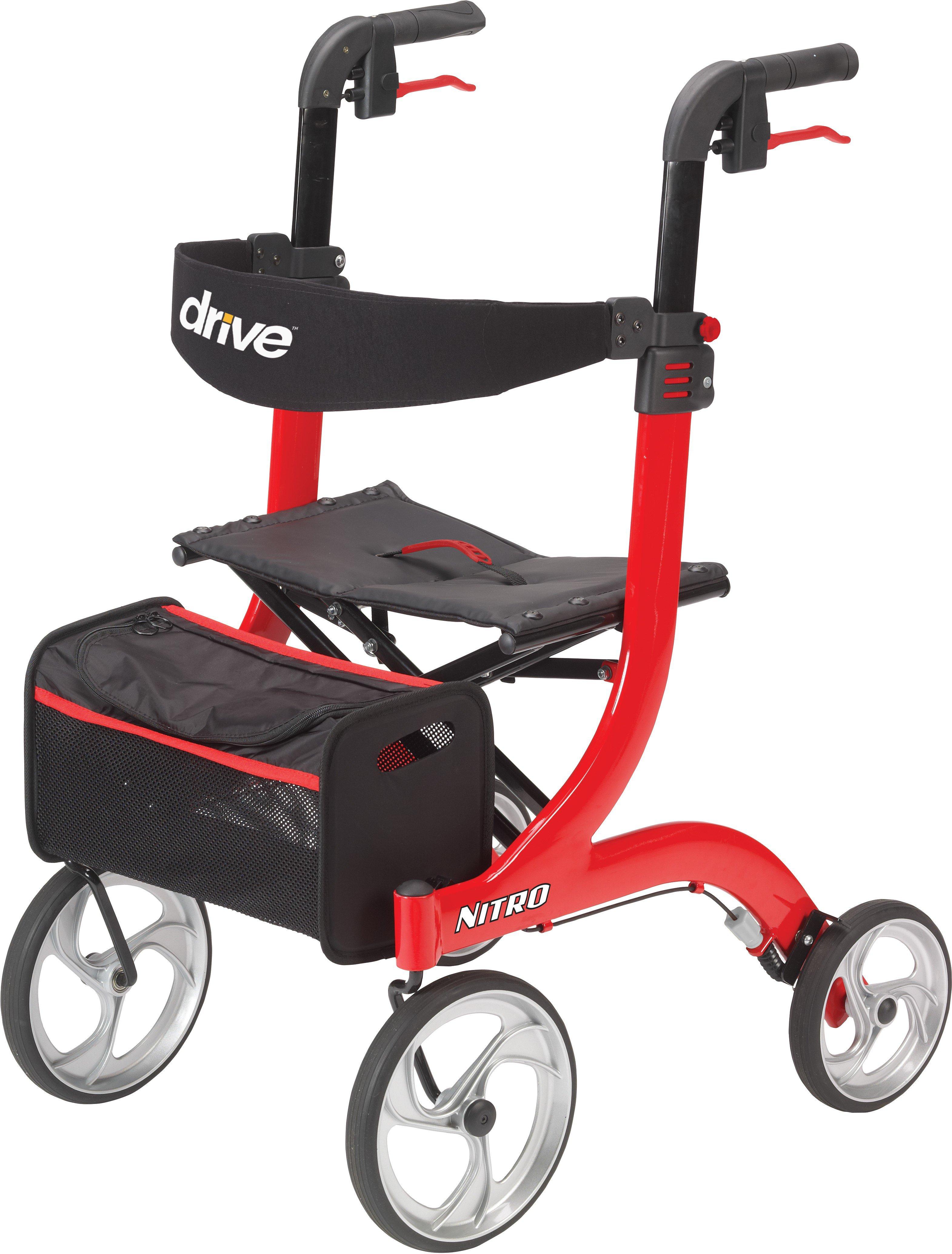 "drive Nitro 4 Wheel Rollator Adjustable Height, Aluminum Frame, RTL10266, 33.5-38.75"" Height Red - 1 Each"