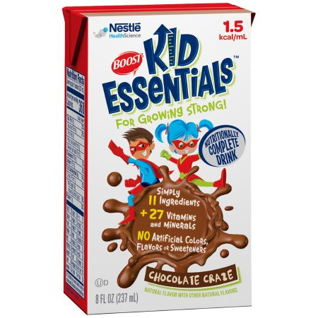 Carton of Boost Kid Essentials 1.5 Ready to Use Pediatric Oral Supplement/Tube Feeding Formula Chocolate Crave