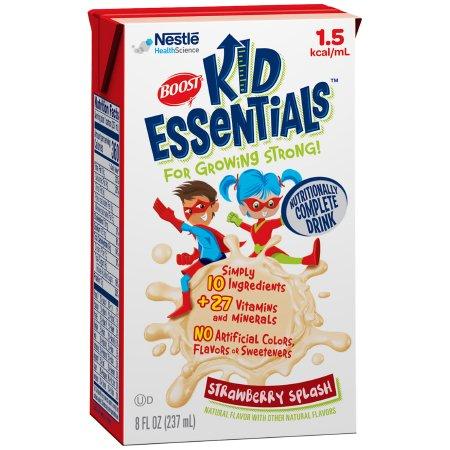 Carton of Boost Kid Essentials 1.5 Ready to Use Pediatric Oral Supplement/Tube Feeding Formula Strawberry Blast