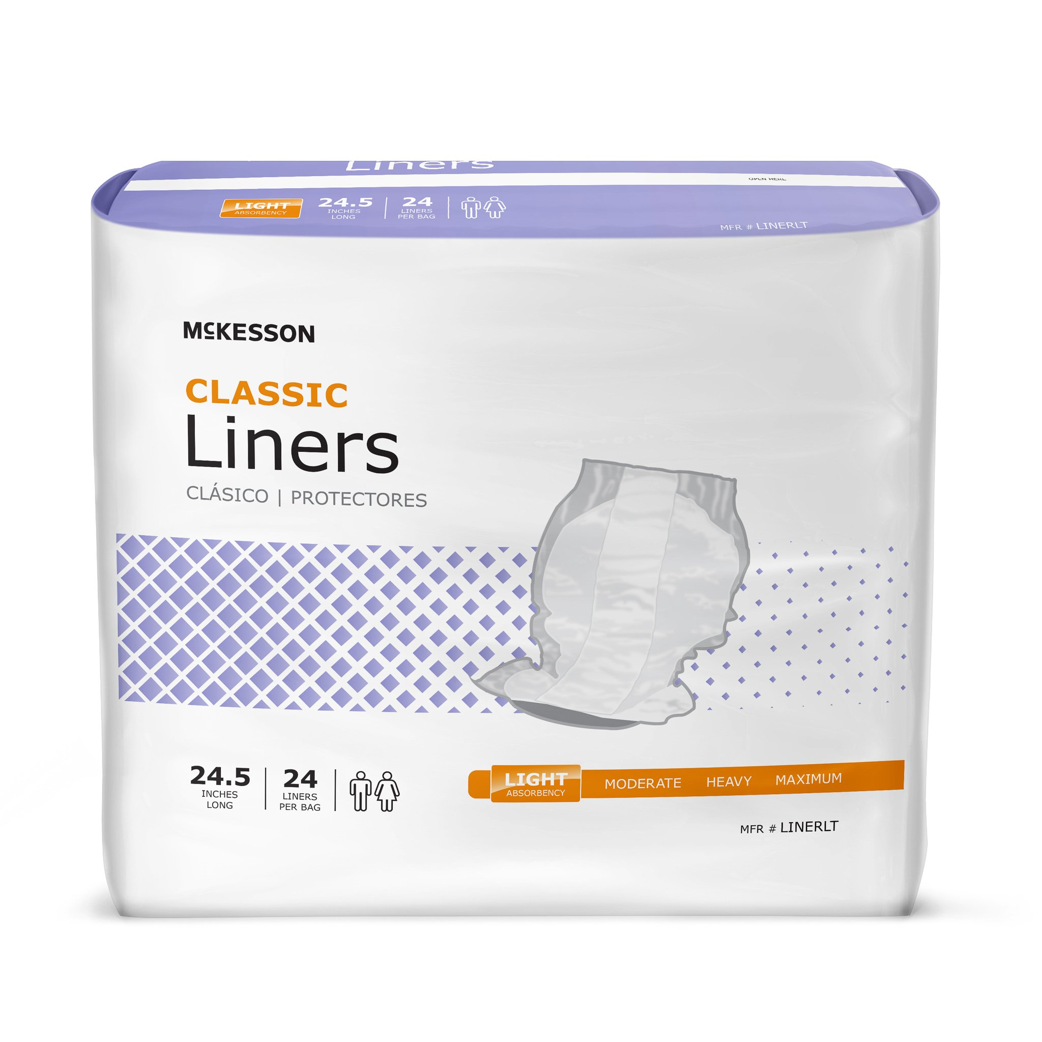 McKesson Classic Disposable Incontinence Liner, Light Absorbency, LINERLT, One Size Fits Most - Bag of 24