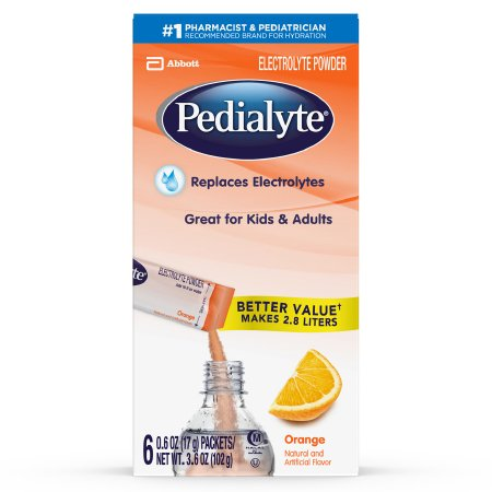 Pedialyte Pediatric Oral Electrolyte Solution Powder, Orange Flavor, 17 Gram, Individual Packet, 64177, Case of 36 Packets