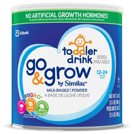 Similac Go & Grow Pediatric Oral Supplement Powder, Unflavored, 24 oz., Can, 67010, Case of 4 Cans
