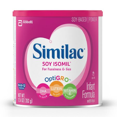 Similac Soy Isomil For Fussiness and Gas Infant Formula Powder, 12.4 oz., Can, 55963, 1 Can