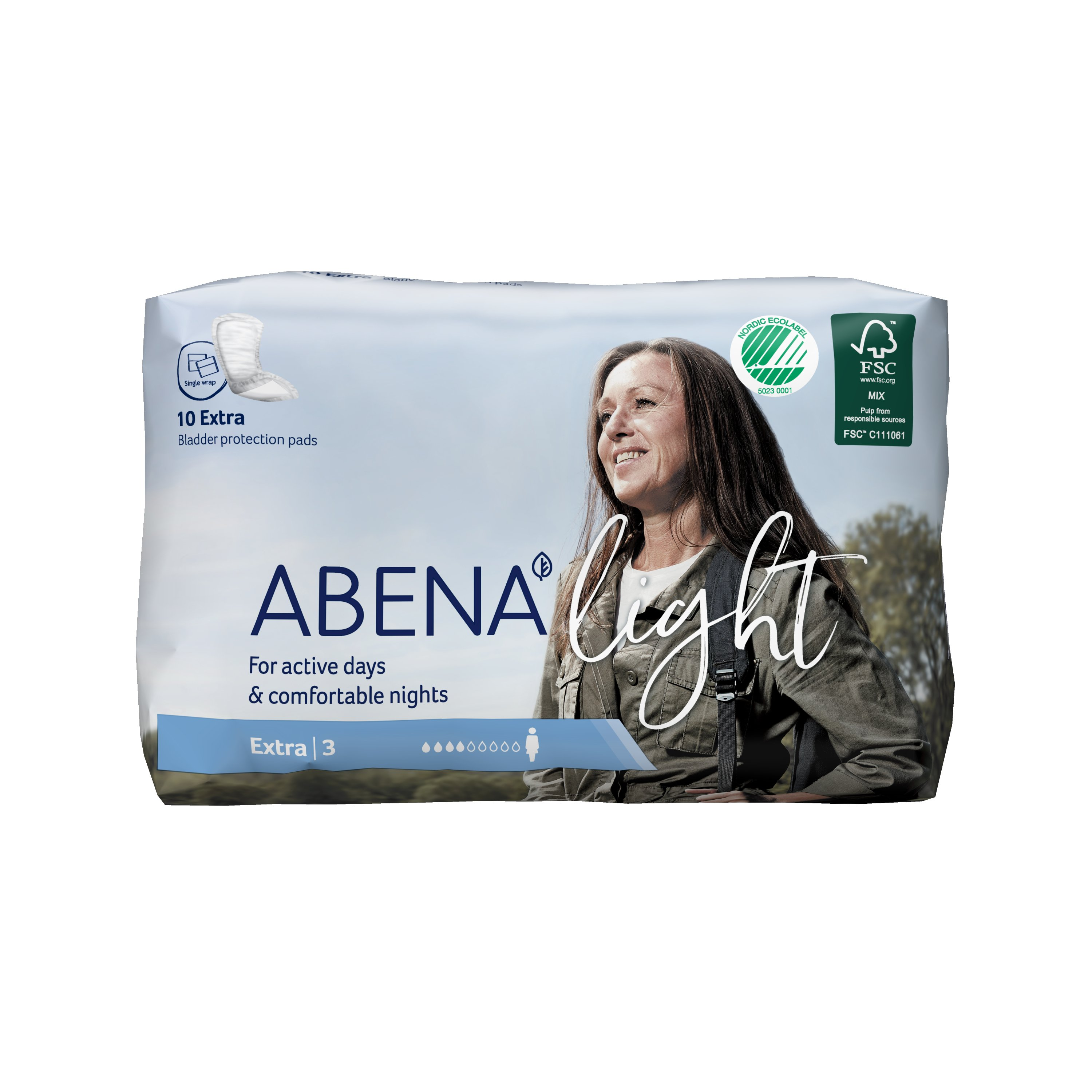 Abena Light Extra Disposable Unisex Adult Bladder Control Pad, Moderate Absorbency, 1000017158, One Size Fits Most - Bag of 10