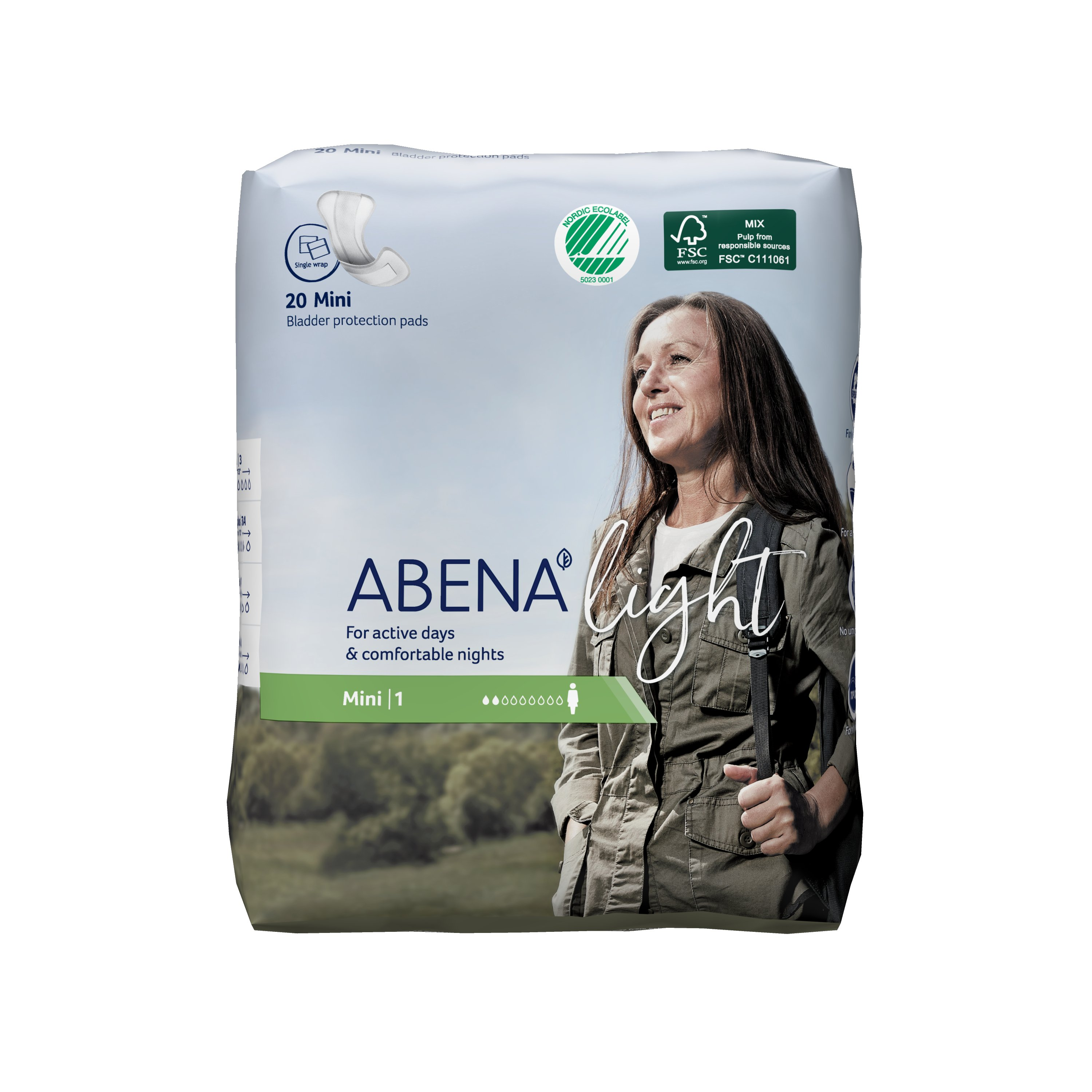 Abena Light Mini Disposable Unisex Adult Bladder Control Pad, Light Absorbency, 1000017155, One Size Fits Most -  Case of 320 Pads (16 Bags)
