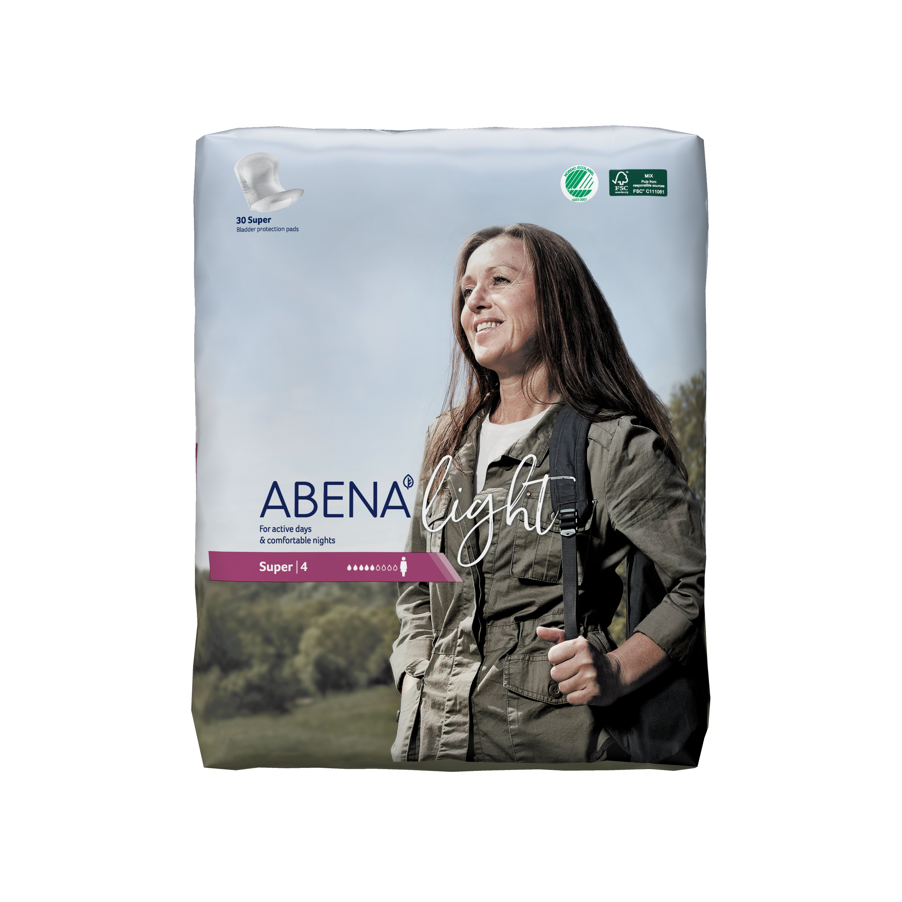 Abena Light Super Disposable Unisex Adult Bladder Control Pad, Moderate Absorbency, 1000017160, One Size Fits Most -  Bag of 30