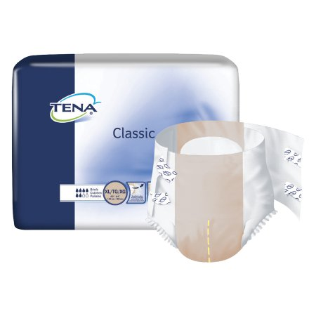 """TENA Classic Unisex Adult Disposable Diaper, Moderate Absorbency, 67750, Beige - X-Large (60-64"""") - Case of 100 (4 Bags)"""