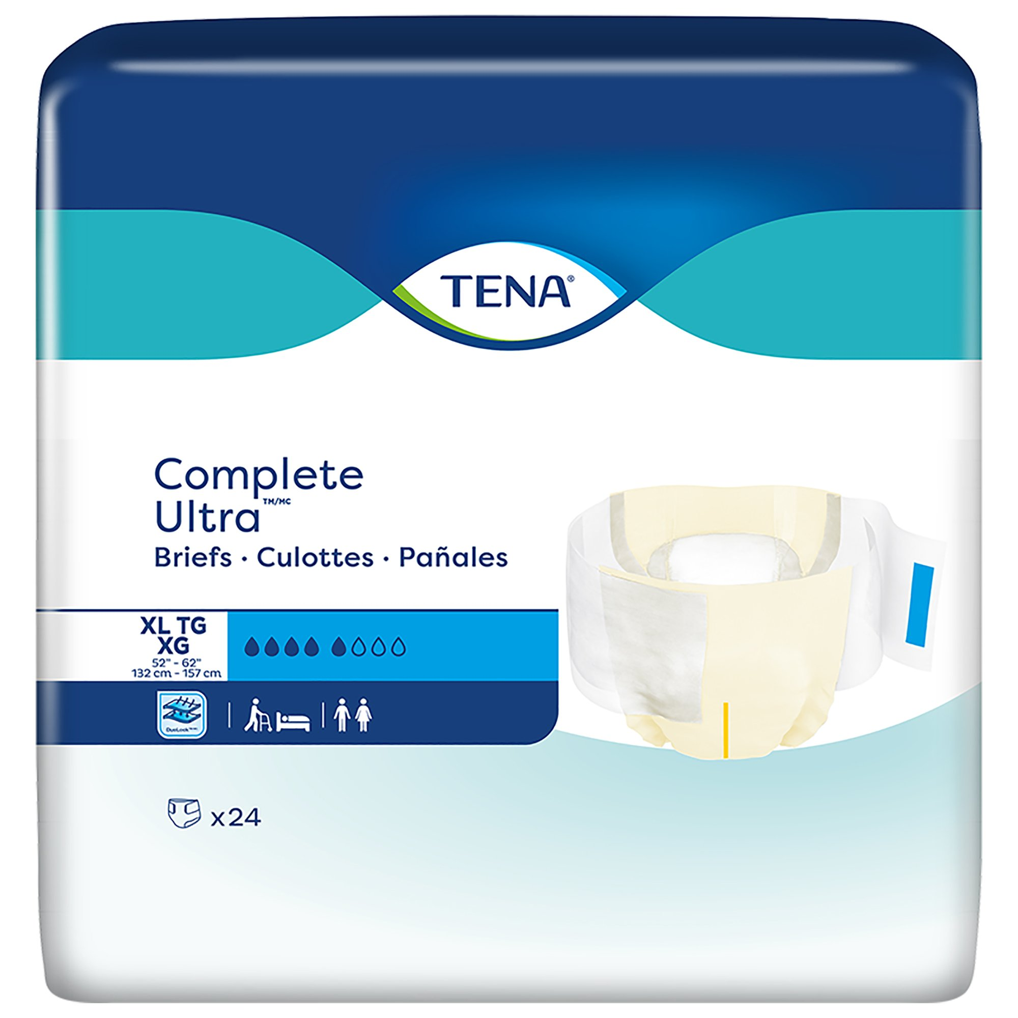 """TENA Complete Ultra Unisex Adult Disposable Diaper, Moderate Absorbency, 67342, Beige - X-Large (52-62"""") - Case of 72 Diapers (3 Bags)"""