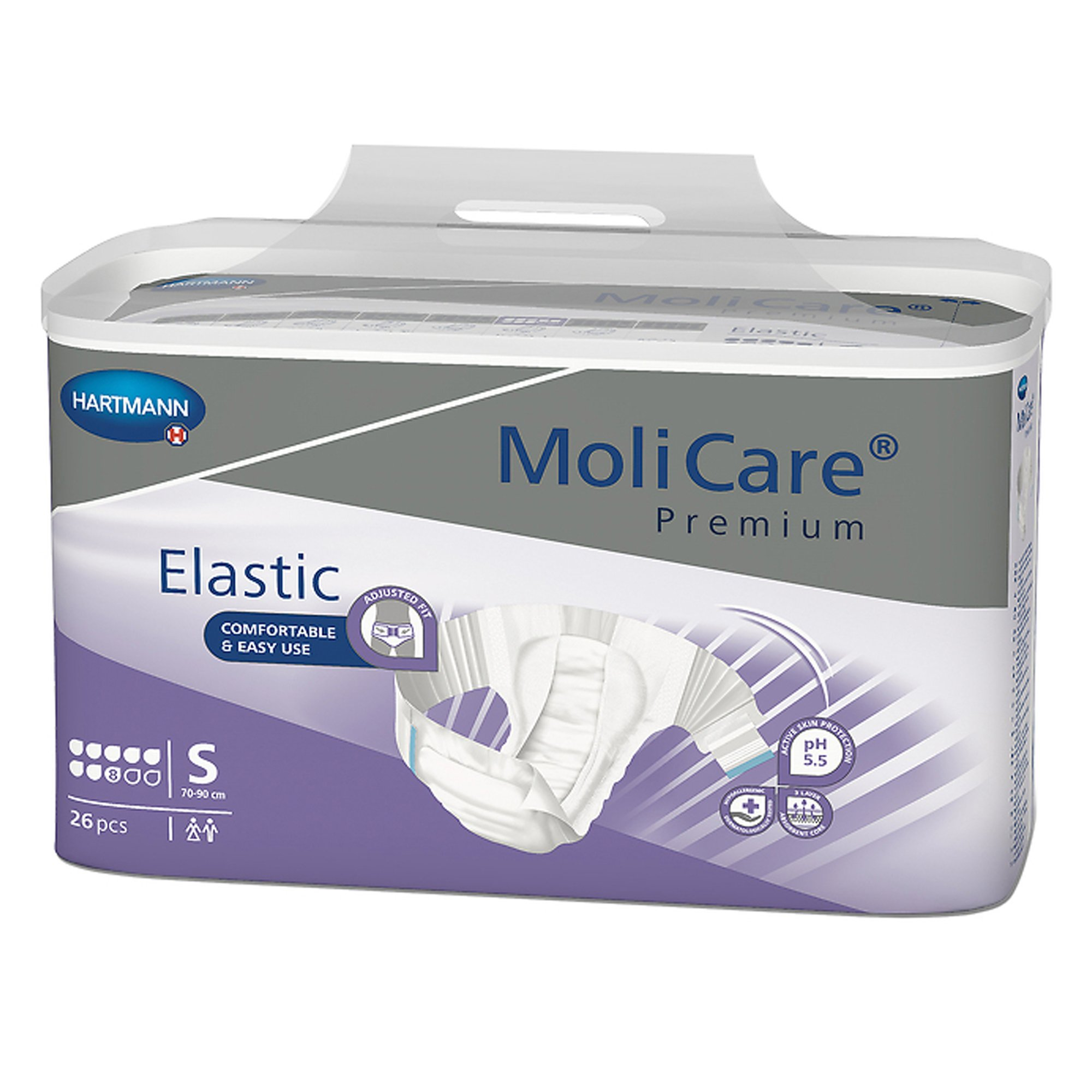"""MoliCare Premium 8D Elastic Disposable Brief Adult Diapers with Tabs, Heavy Absorbency, 165471, Small (27-35"""") - Case of 90"""
