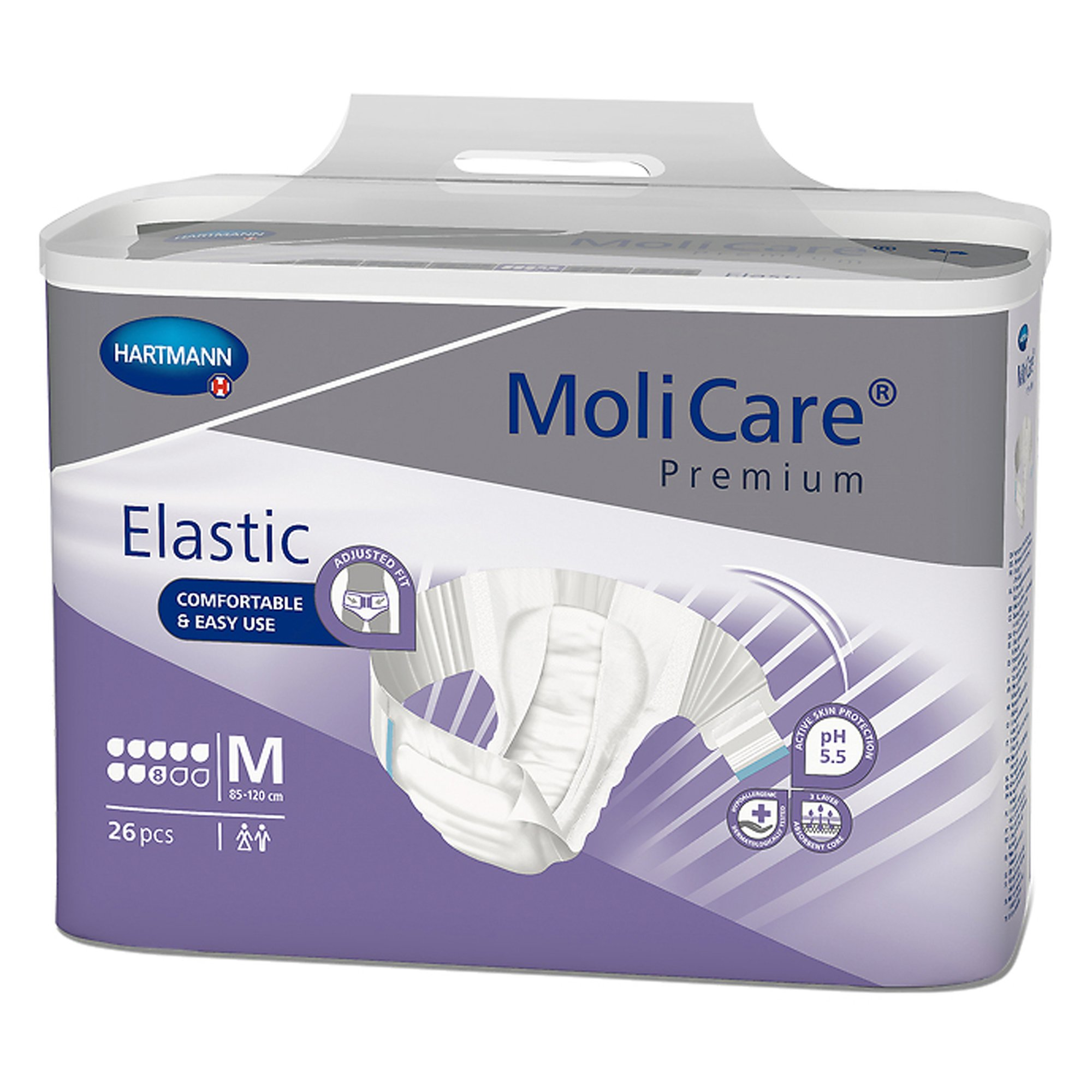 """MoliCare Premium 8D Elastic Disposable Brief Adult Diapers with Tabs, Heavy Absorbency, 165472, Medium (33-47"""") - Case of 67"""