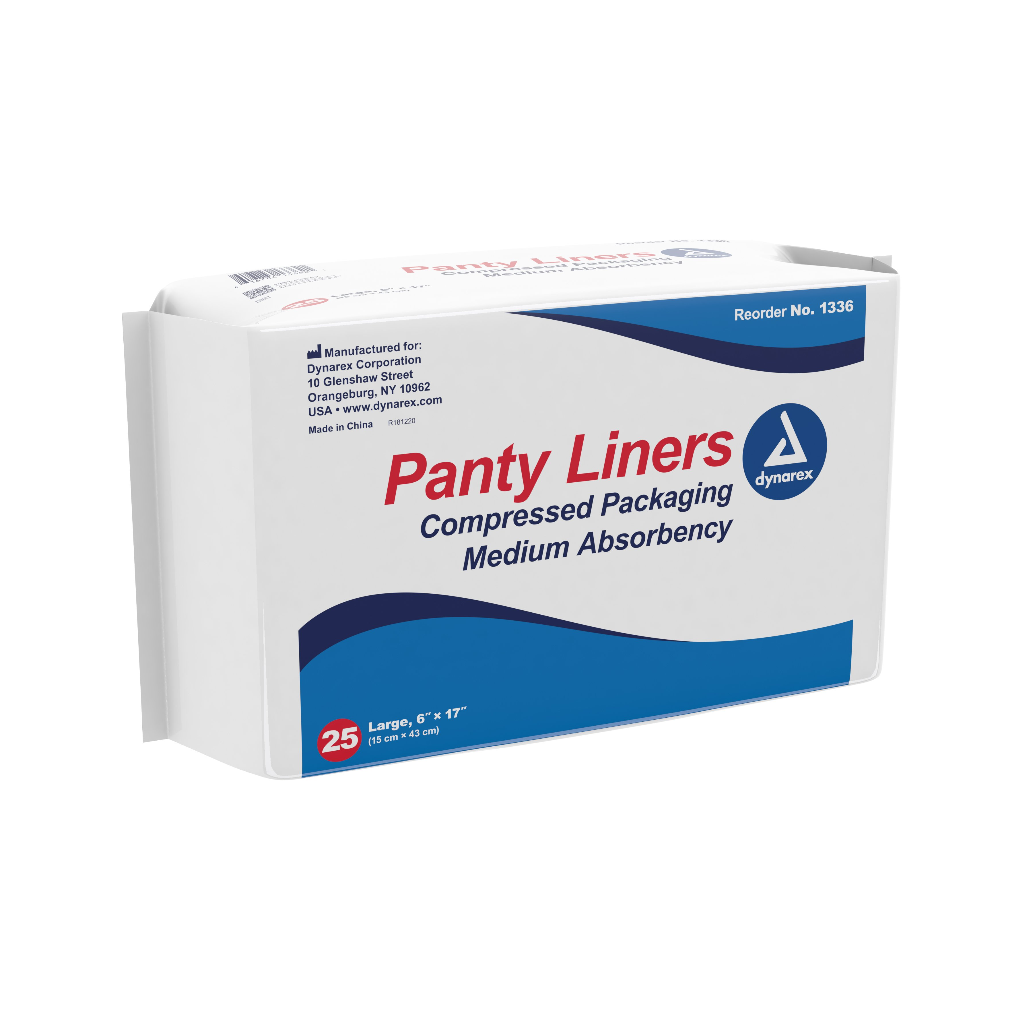 """Dynarex Panty Liners, Moderate Absorbency, 1336, 6 X 17"""" - Case of 250 (10 Packs)"""