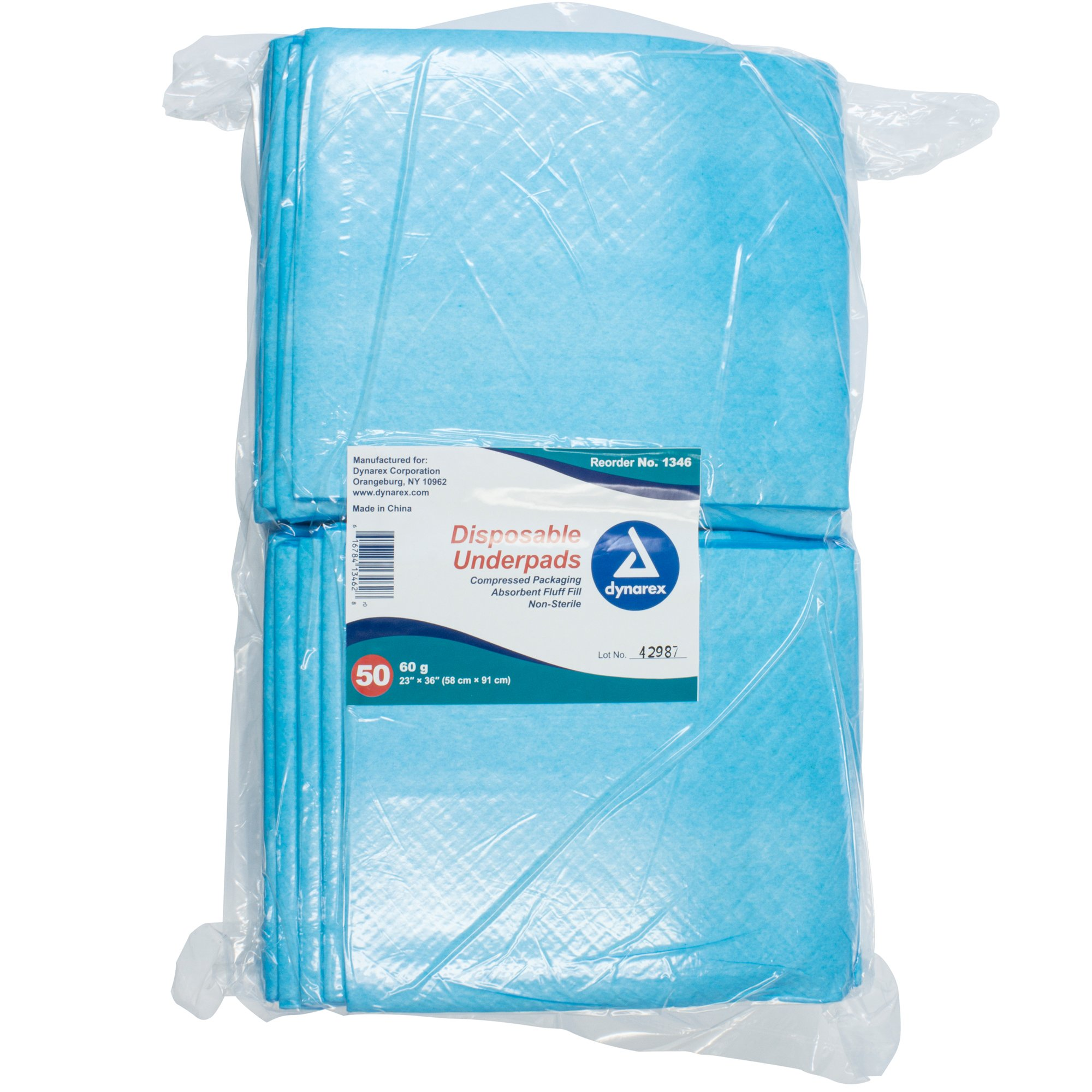 """Dynarex Disposable Underpad, Light Absorbency, 1346, 23 X 36"""" - Bag of 50"""