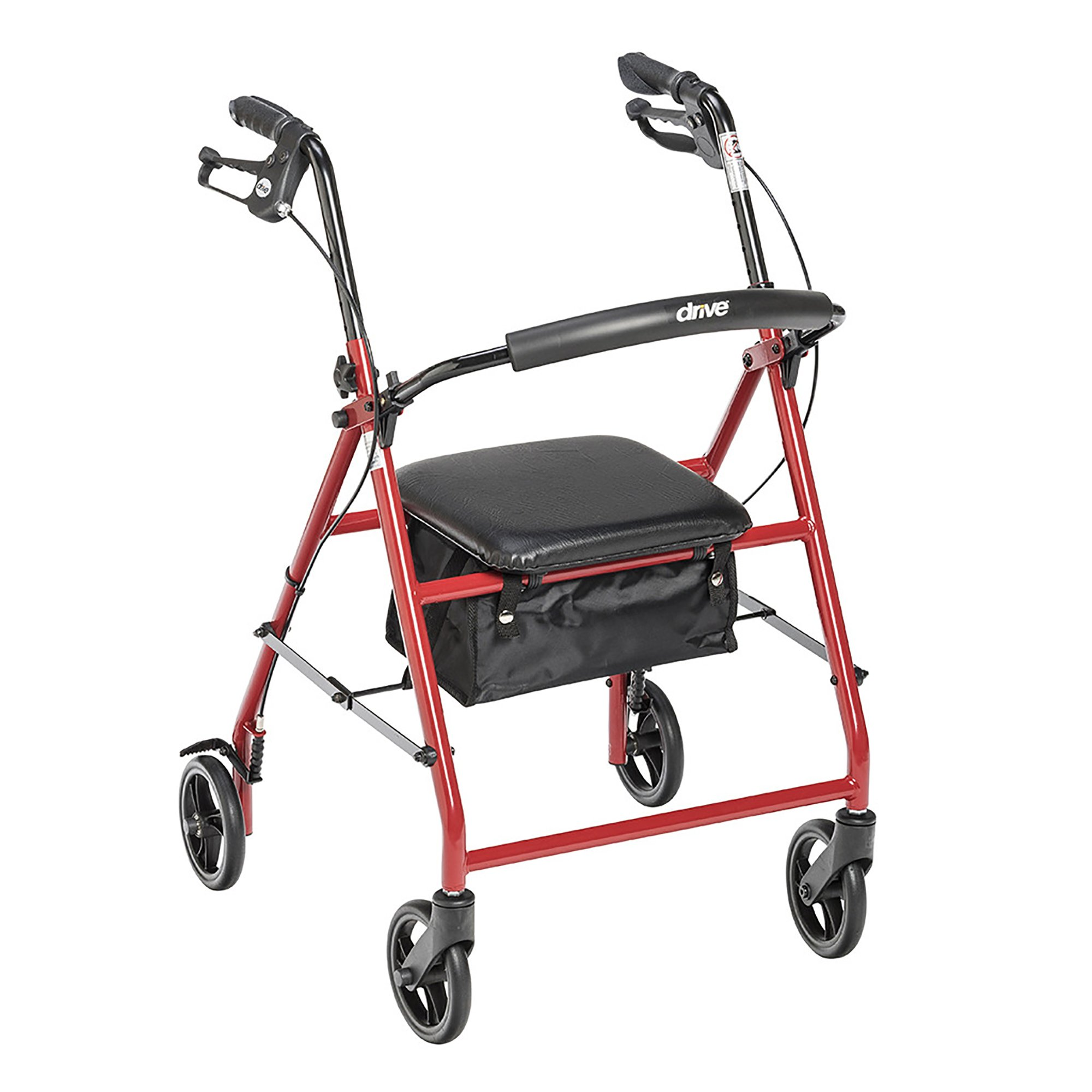 """drive Adjustable Height Rollator, 6"""" Casters, R800RD, Red - 1 Each"""