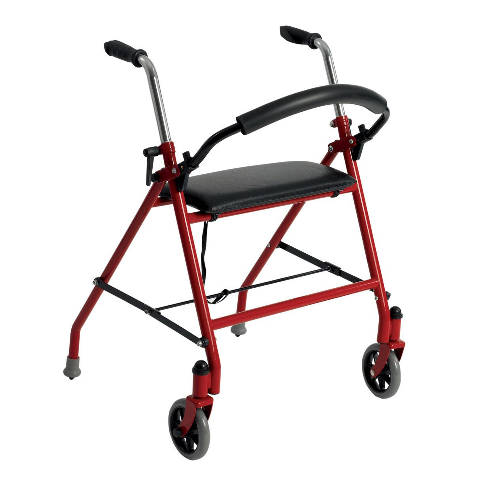 drive Adjustable Height Dual Release Folding Walker, 1239RD, Red - 1 Each
