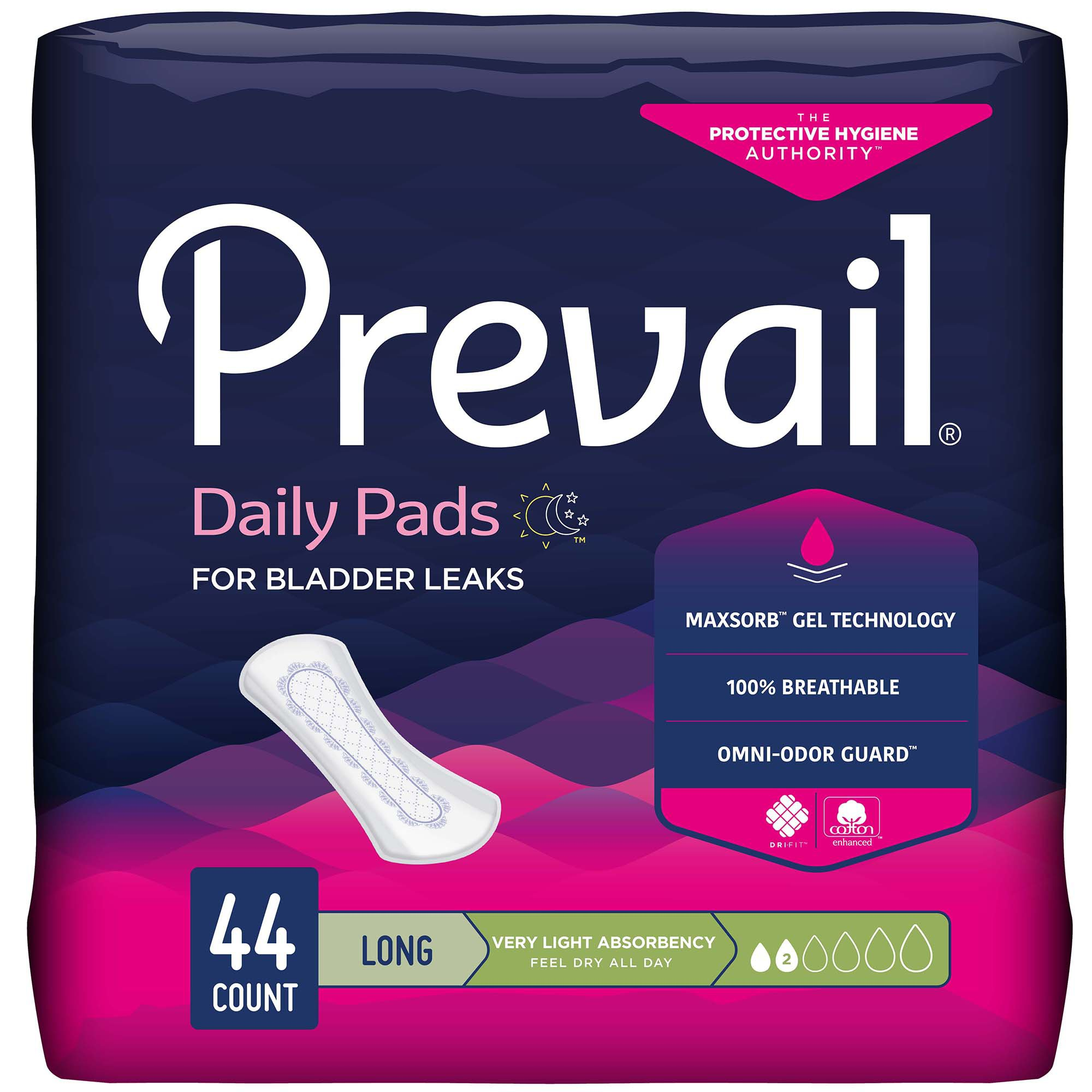Prevail Daily Pads for Bladder Leaks, Light Absorbency, PV-944/2, Bag of 44