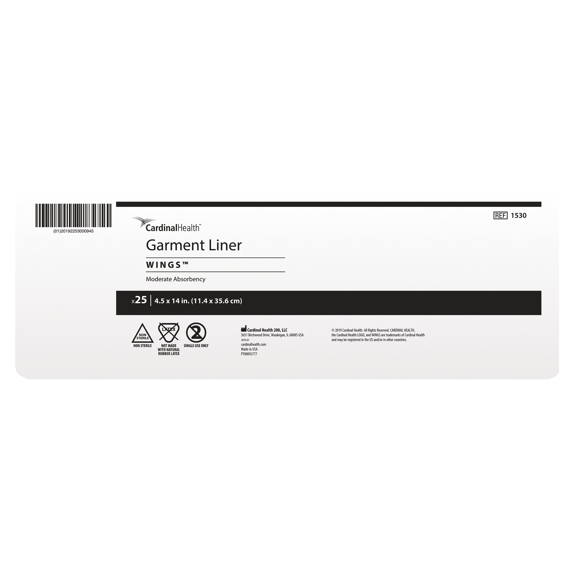"""CardinalHealth Garment Liner Wings, Moderate Absorbency, 1530, 4.5 X 14"""" - Case of 125 (5 Bags)"""