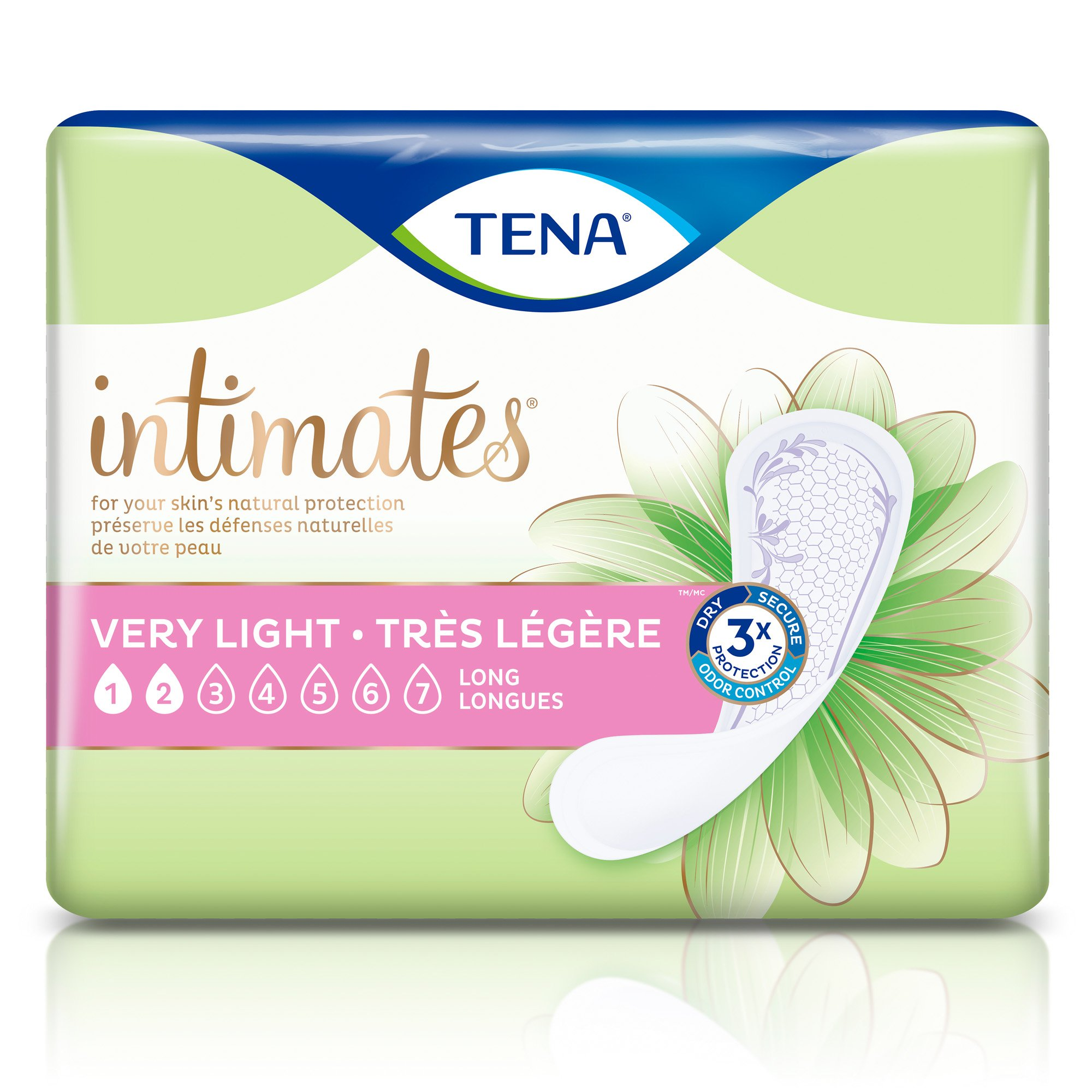 TENA Intimates Bladder Pad, Very Light Absorbency, 54291, Bag of 50