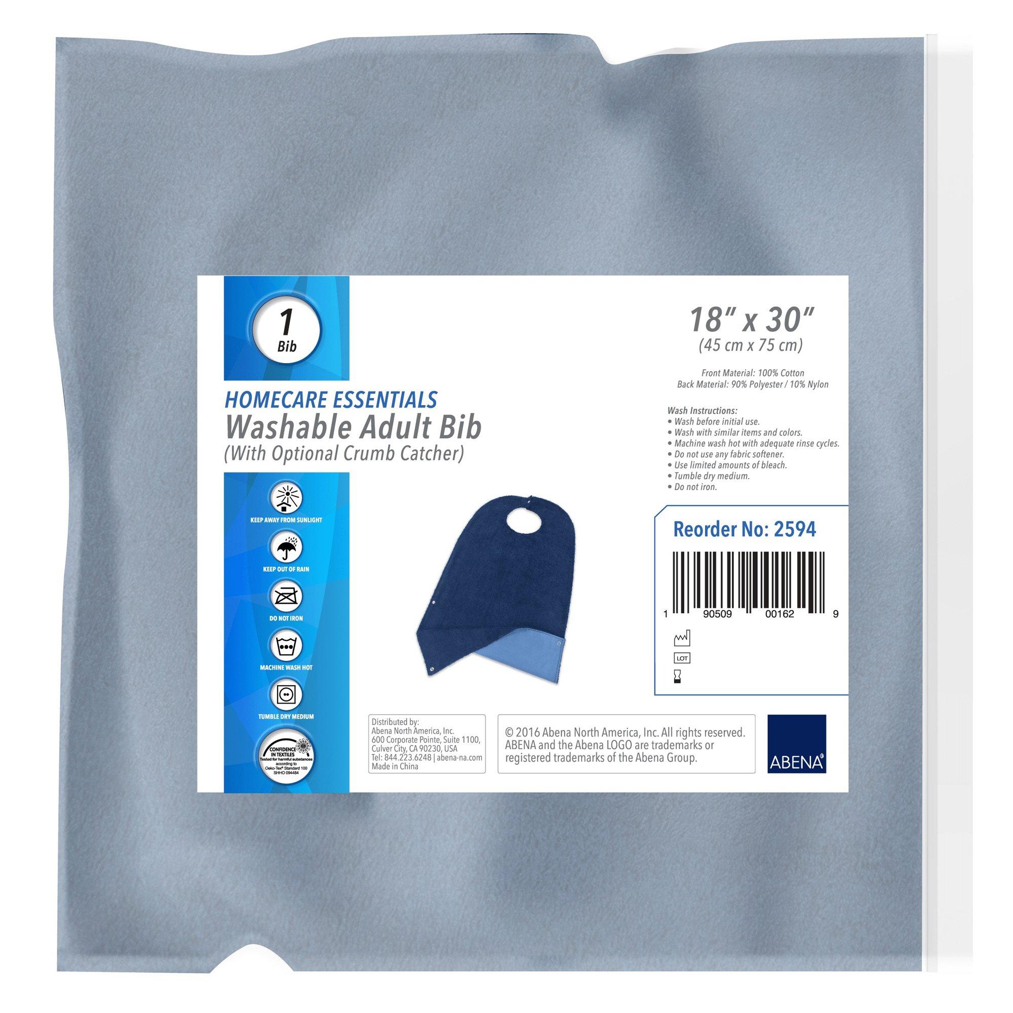 Abena Homecare Essentials Washable Adult Bib with Optional Crumb Catcher, 2594, 1 Each