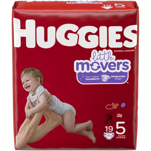 Huggies Little Movers Diapers, Moderate Absorbency, 49680, Size 5 (27+ lbs) - Pack of 19