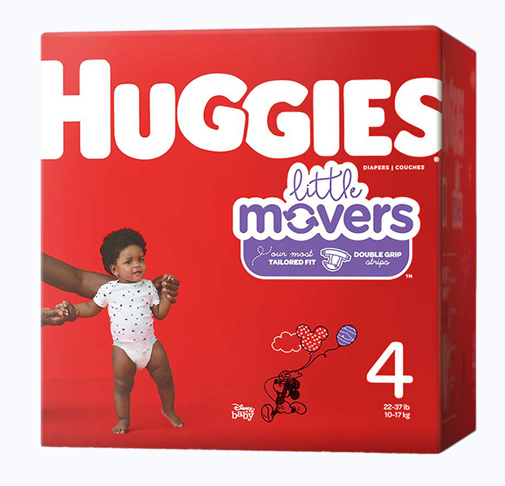 Huggies Little Movers Diapers, Moderate Absorbency, 49679, Size 4 (22-37 lbs) - Pack of 22