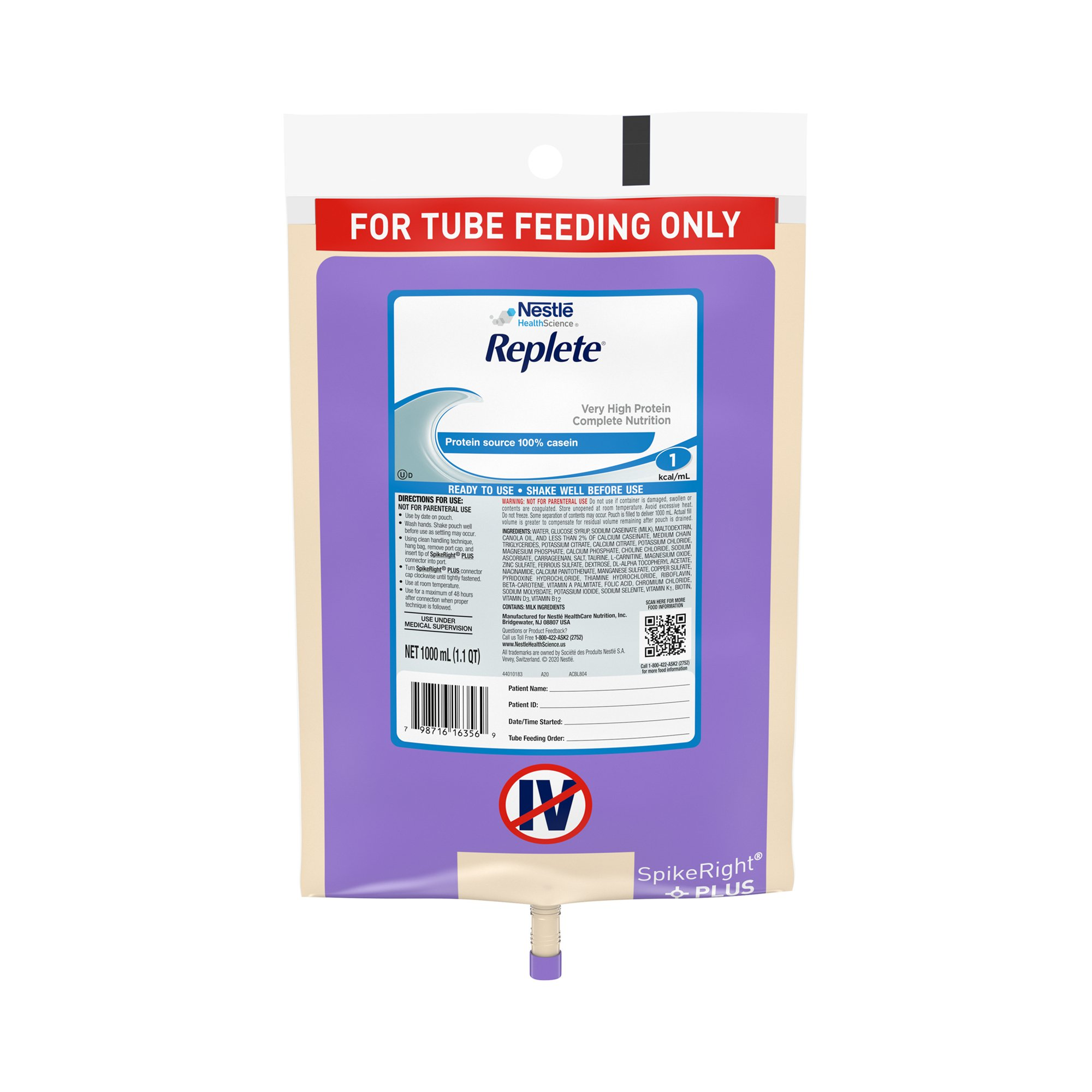 Nestle HealthScience Replete Very High Protein Complete Nutrition Tube Feeding Formula, 33.8 oz. , 10798716263563, Case of 6