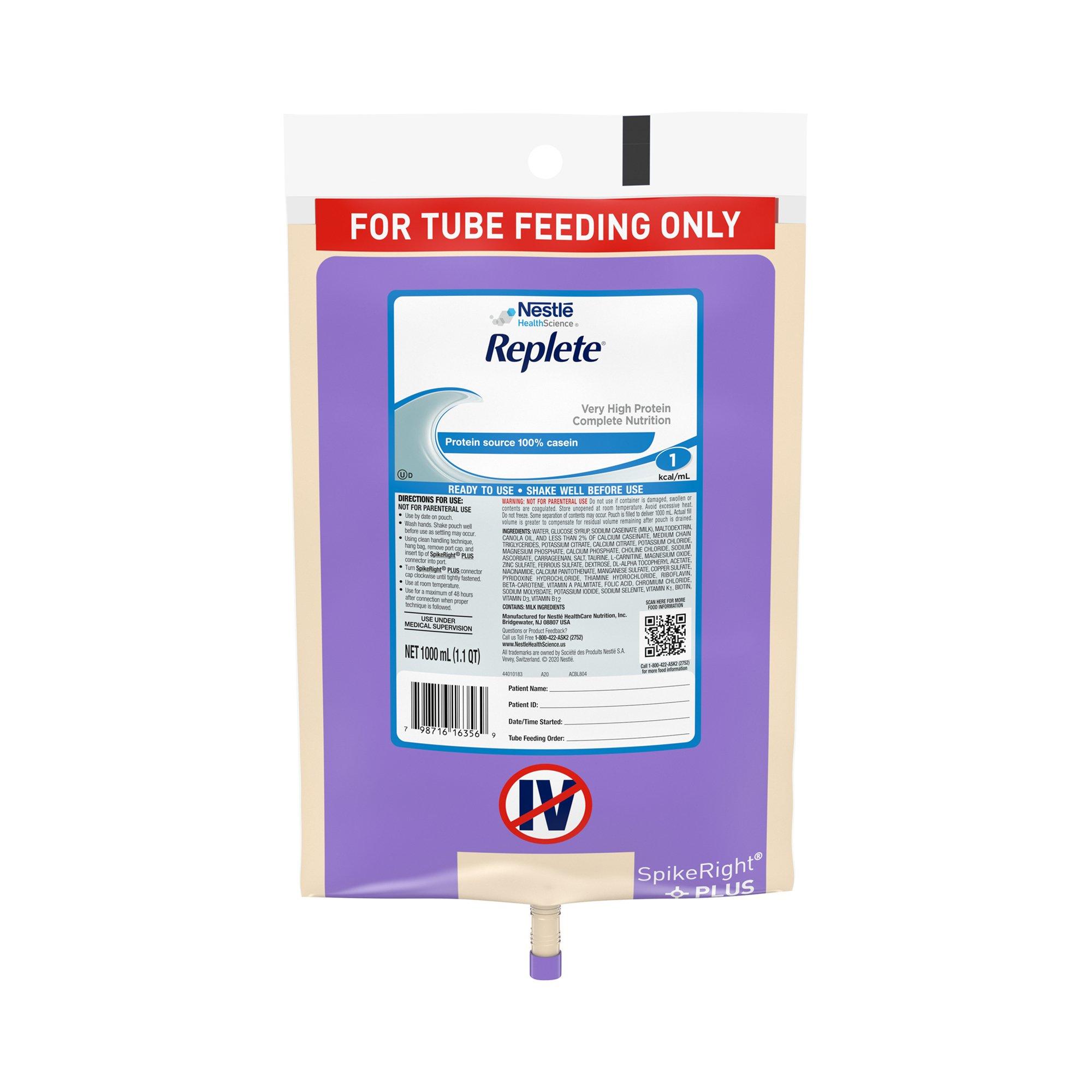 Nestle HealthScience Replete Very High Protein Complete Nutrition Tube Feeding Formula, 33.8 oz. , 10798716263563, 1 Each