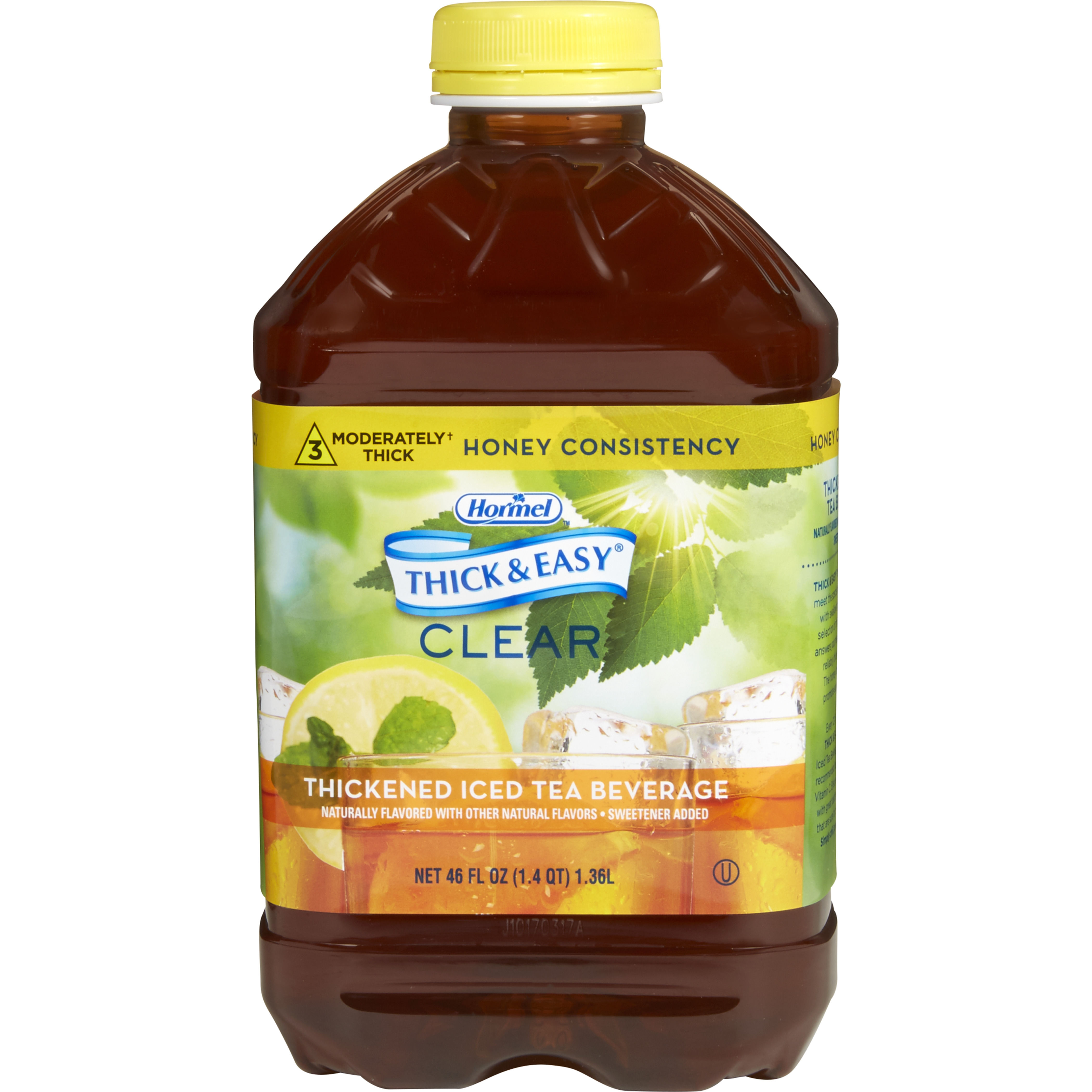 Hormel Thick & Easy Clear Thickened Beverage, Honey Consistency, Moderately Thick, Iced Tea, 46 oz., 45587, Case of 6