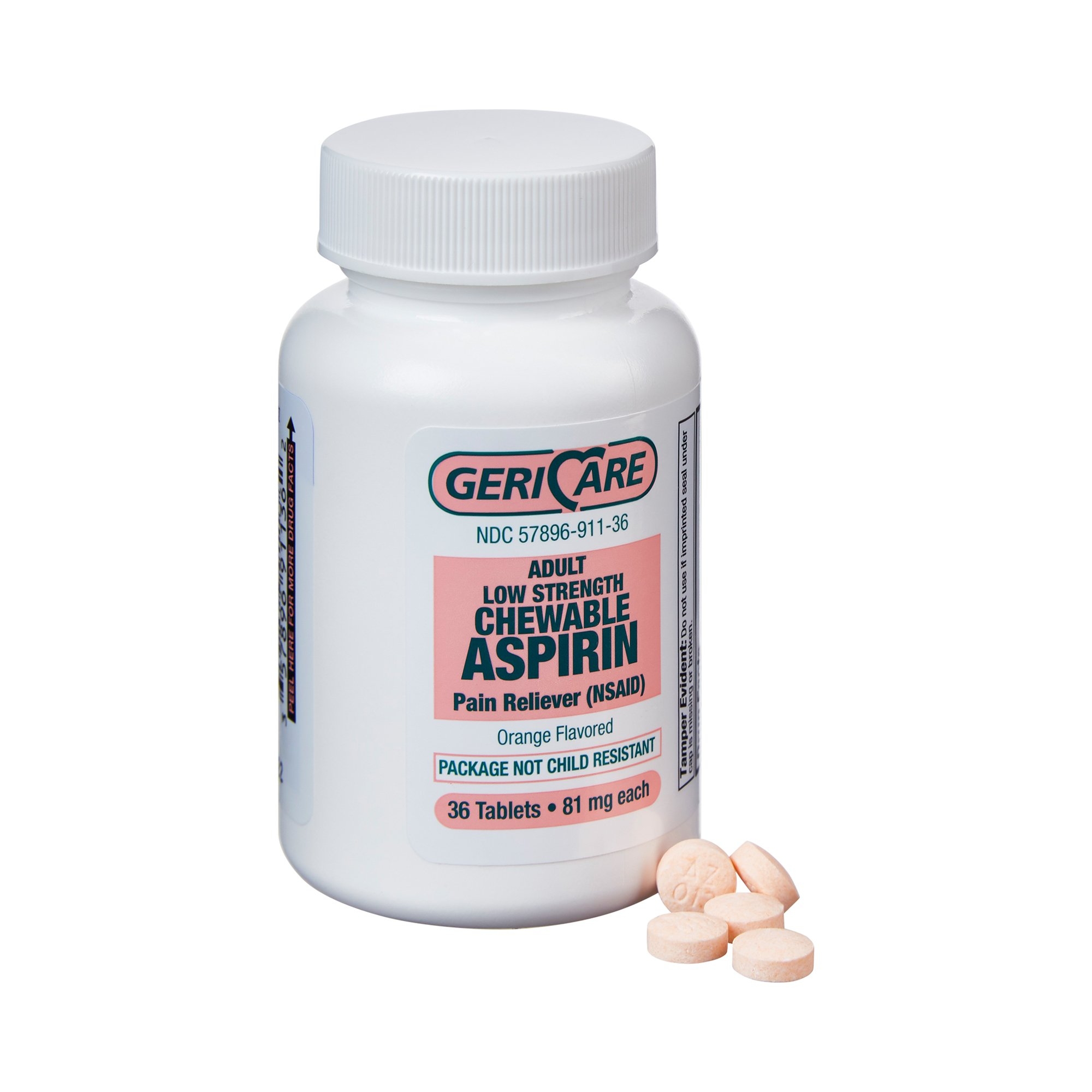 Geri-Care Adult Low Strength Chewable Aspirin Pain Reliever, 81 mg., 911-36-GCP, 1 Each