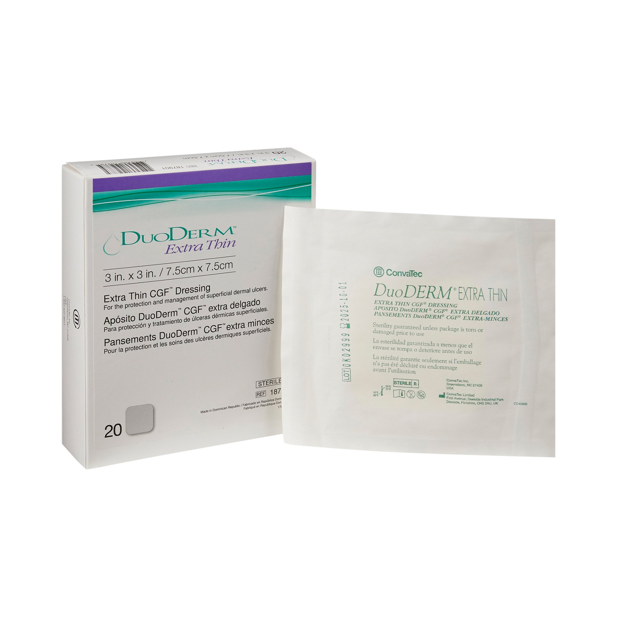 """DuoDERM Extra Thin Hydrocolloid Dressing, 3"""" X 3"""", Square Sterile, 187901, Box of 20"""
