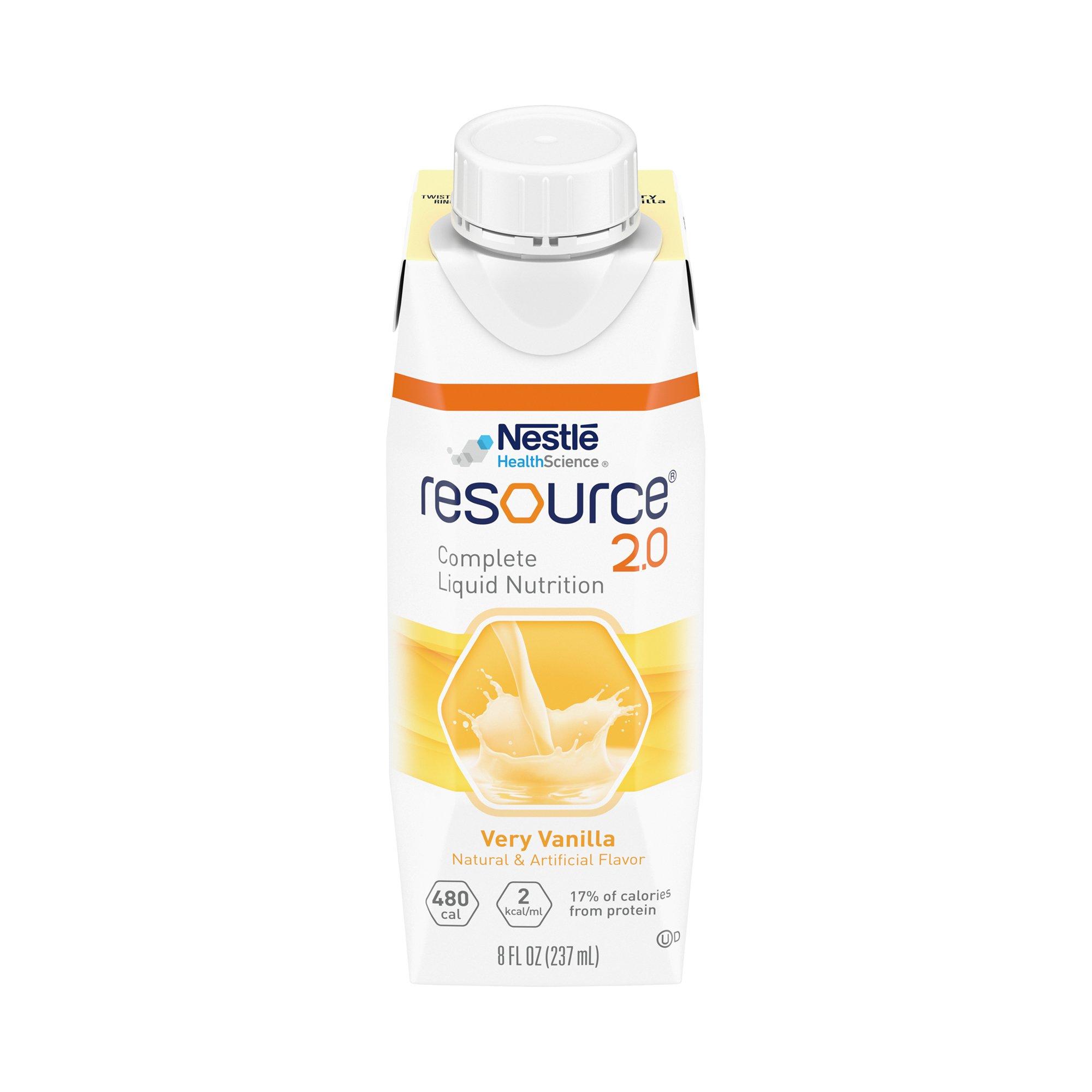 Nestle HealthScience Resource 2.0 Complete Liquid Nutrition, Very Vanilla, 00043900151670, Case of 24