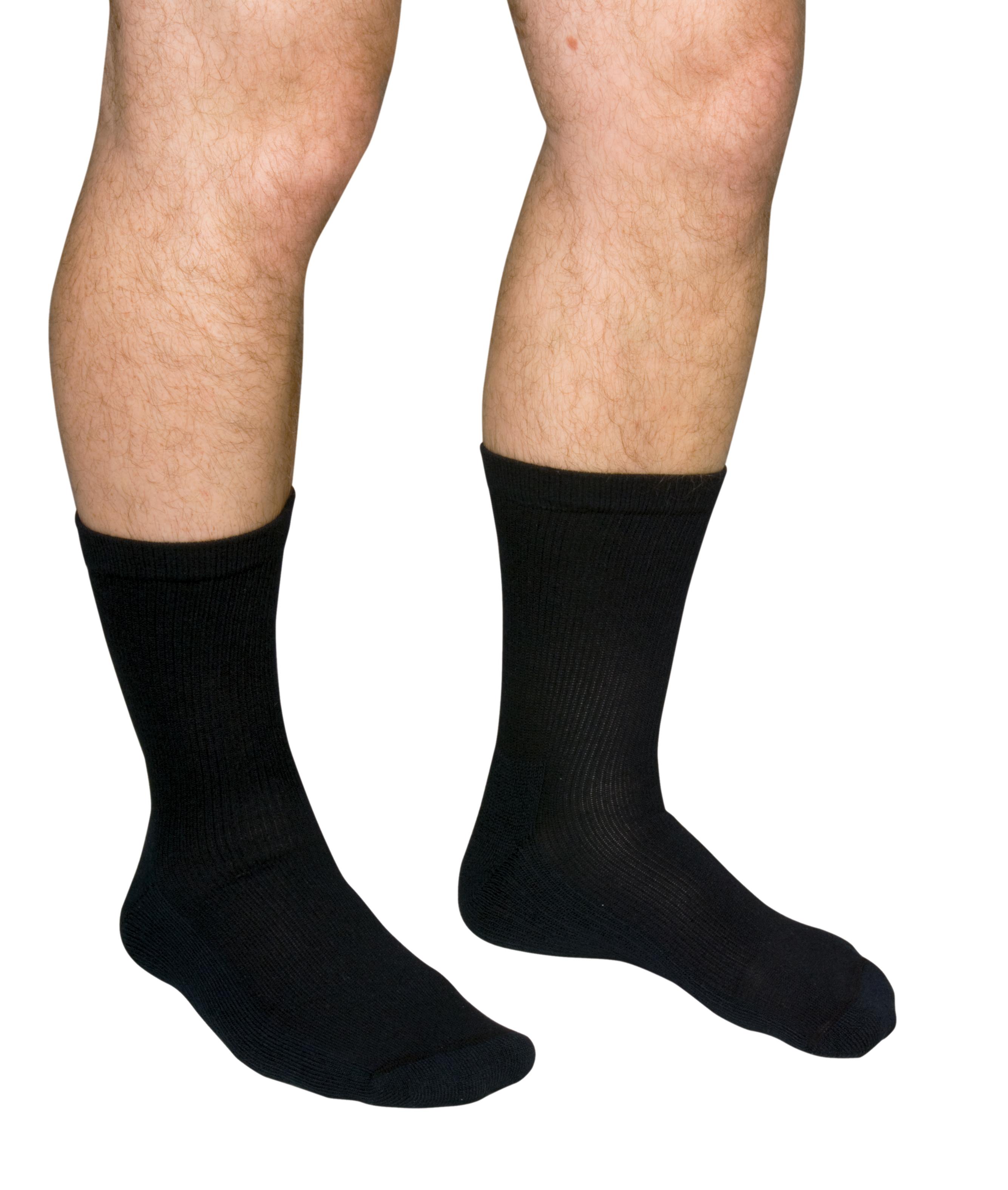 QCS Diabetic Care Crew Sock for Men and Women, White, MCO1680WHIMD, Medium