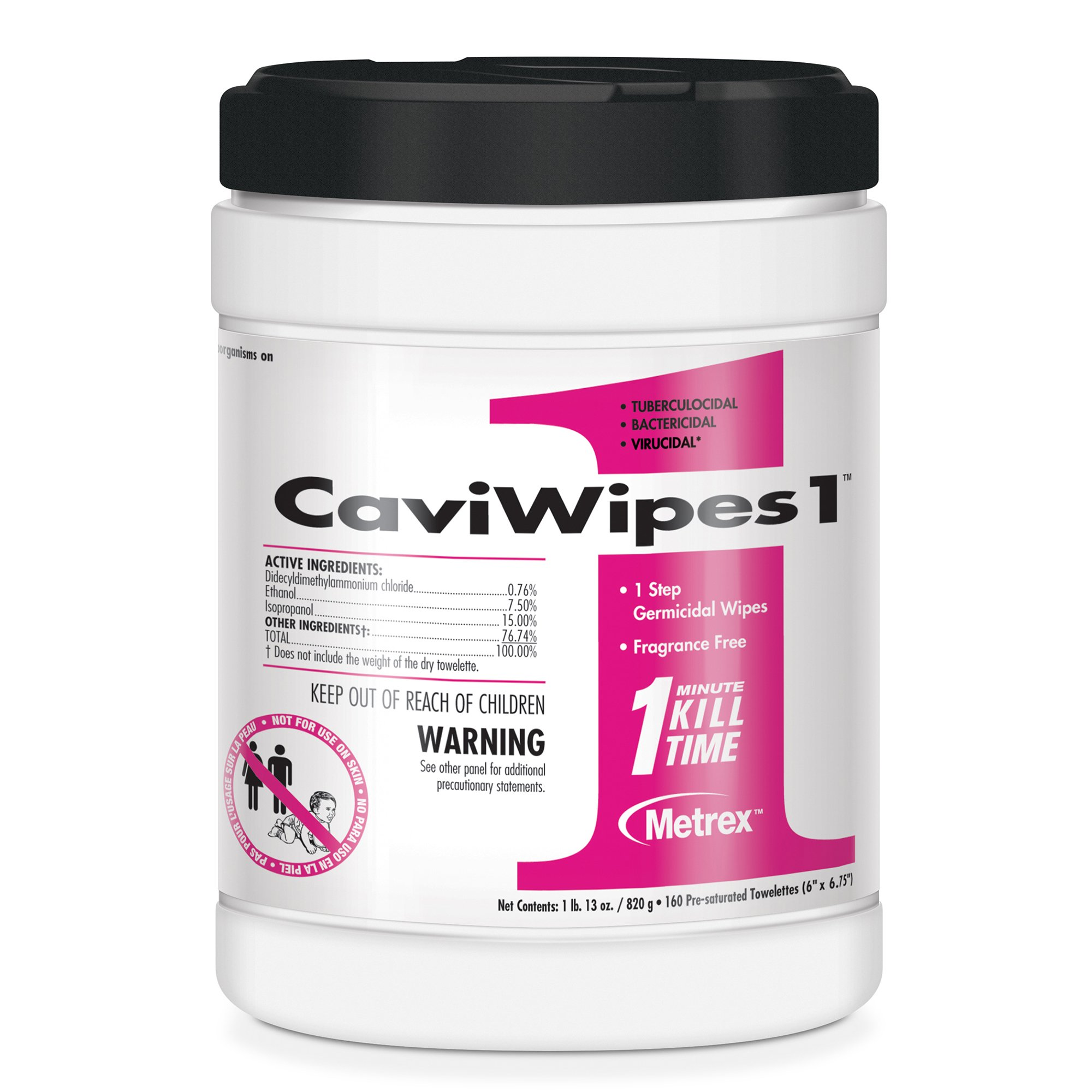 """CaviWipes1 Surface Disinfectant Premoistened Alcohol Based Wipe, NonSterile, 13-5100, 6 X 6-3/4"""" Canister - Count of 160"""
