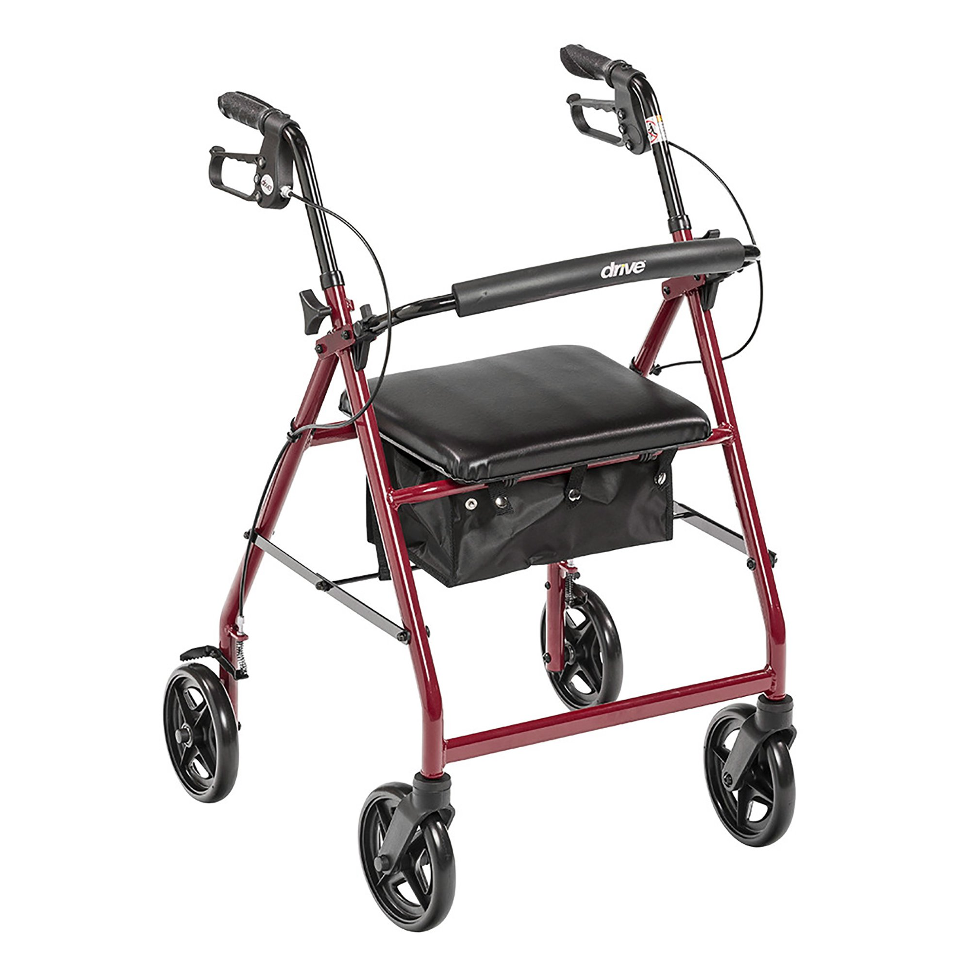 """drive Adjustable Height 4 Wheel Rollator, 7.5"""" Casters, R728RD, Red - 1 Each"""