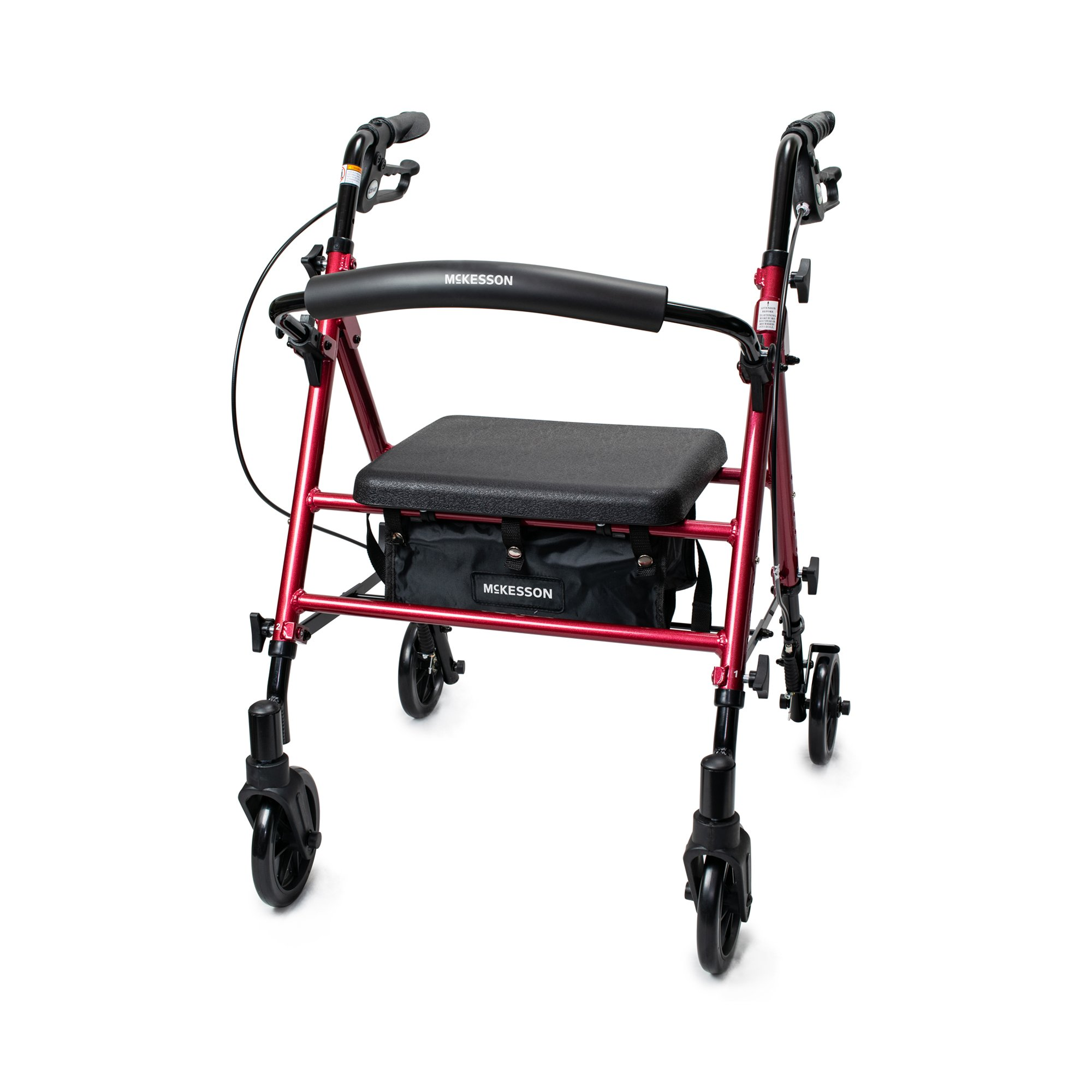 """McKesson Adjustable Height 4 Wheel Rollator, 6"""" Casters, 146-RTL10261RD, Red - 1 Each"""