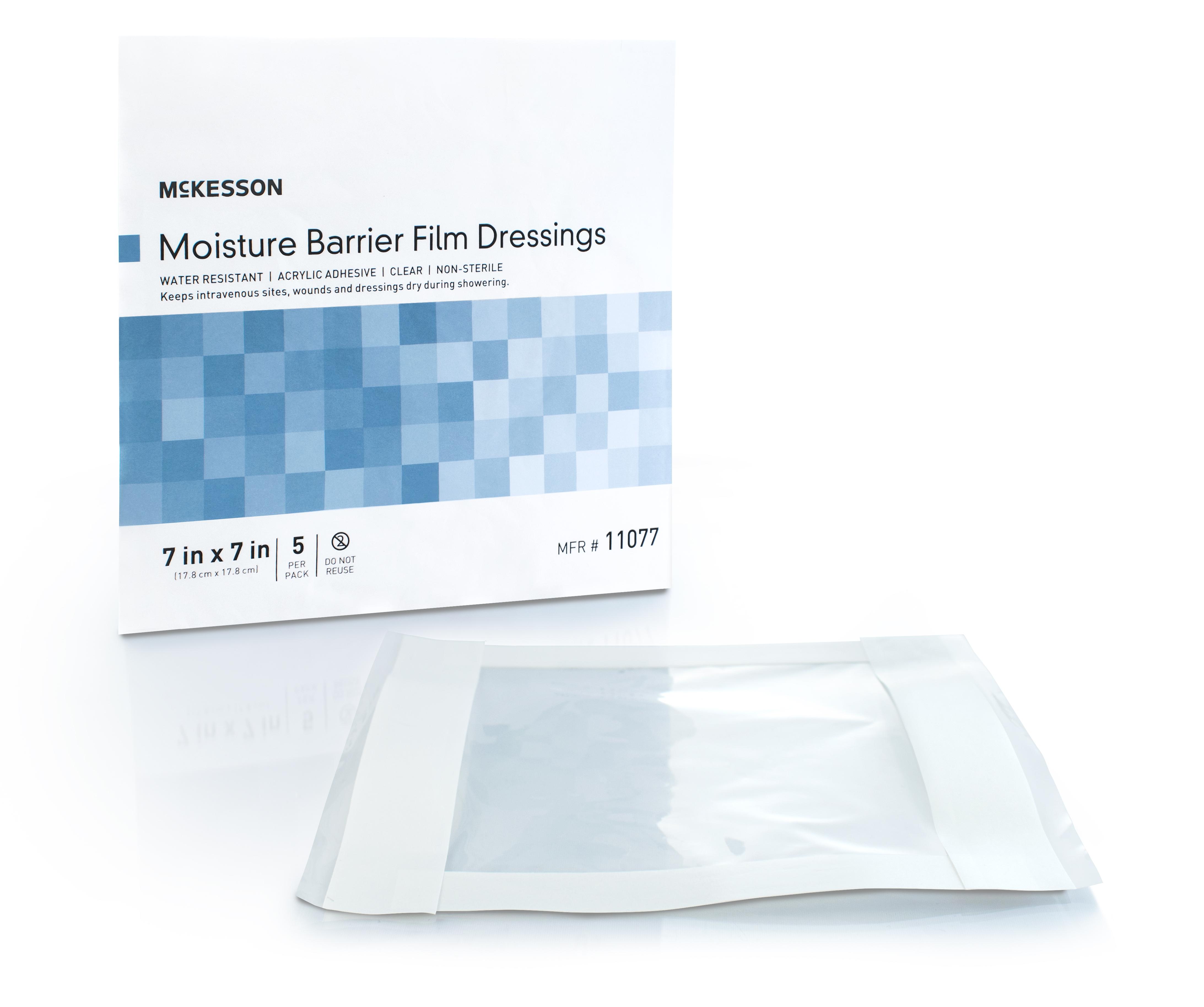 """McKesson Moisture Barrier Film Dressings, 11077, DRESSING, MOISTURE BARRIER 7""""X7"""" (5/PK 80PK/CS)"""