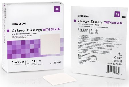 """McKesson Collagen Dressings with Silver, 2"""" X 2"""" Square, 16-1860, Box of 10"""