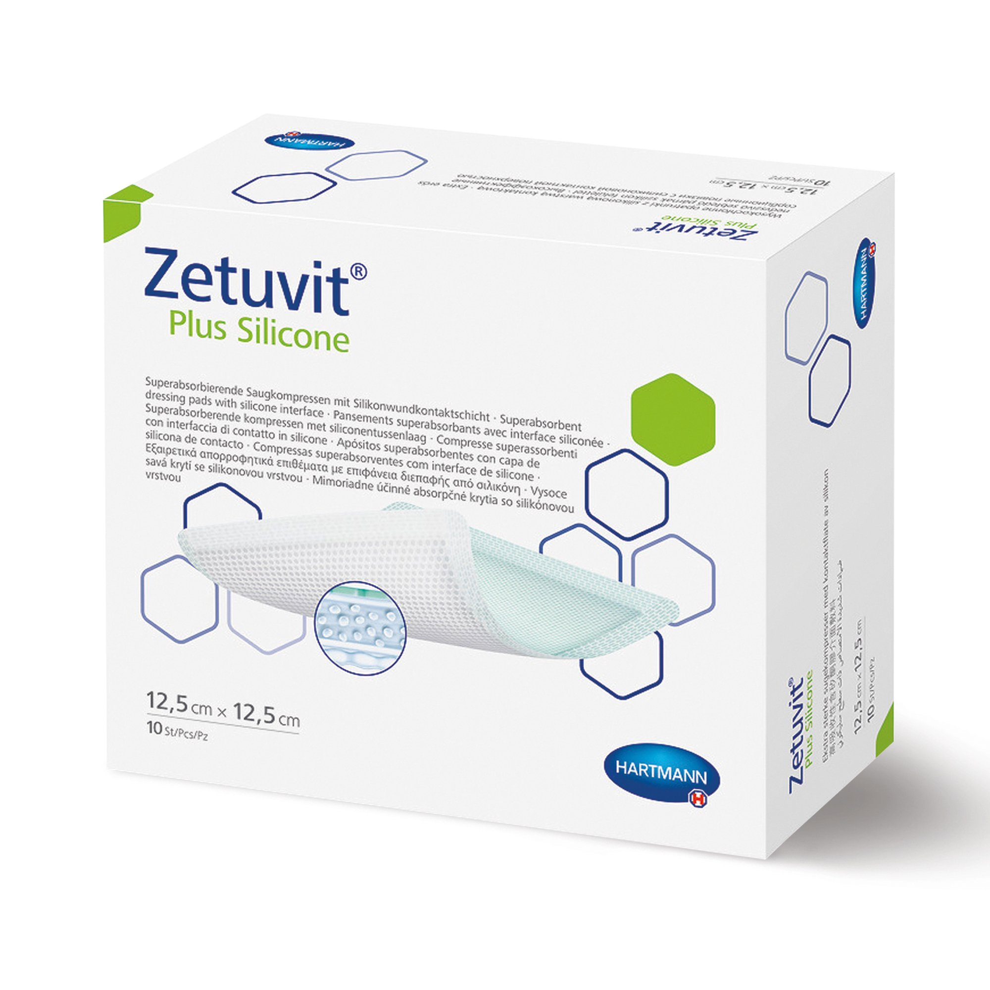 """Zetuvit Plus Silicone Super Absorbent Dressing, 3 X 3"""", 413114, Box of 10"""