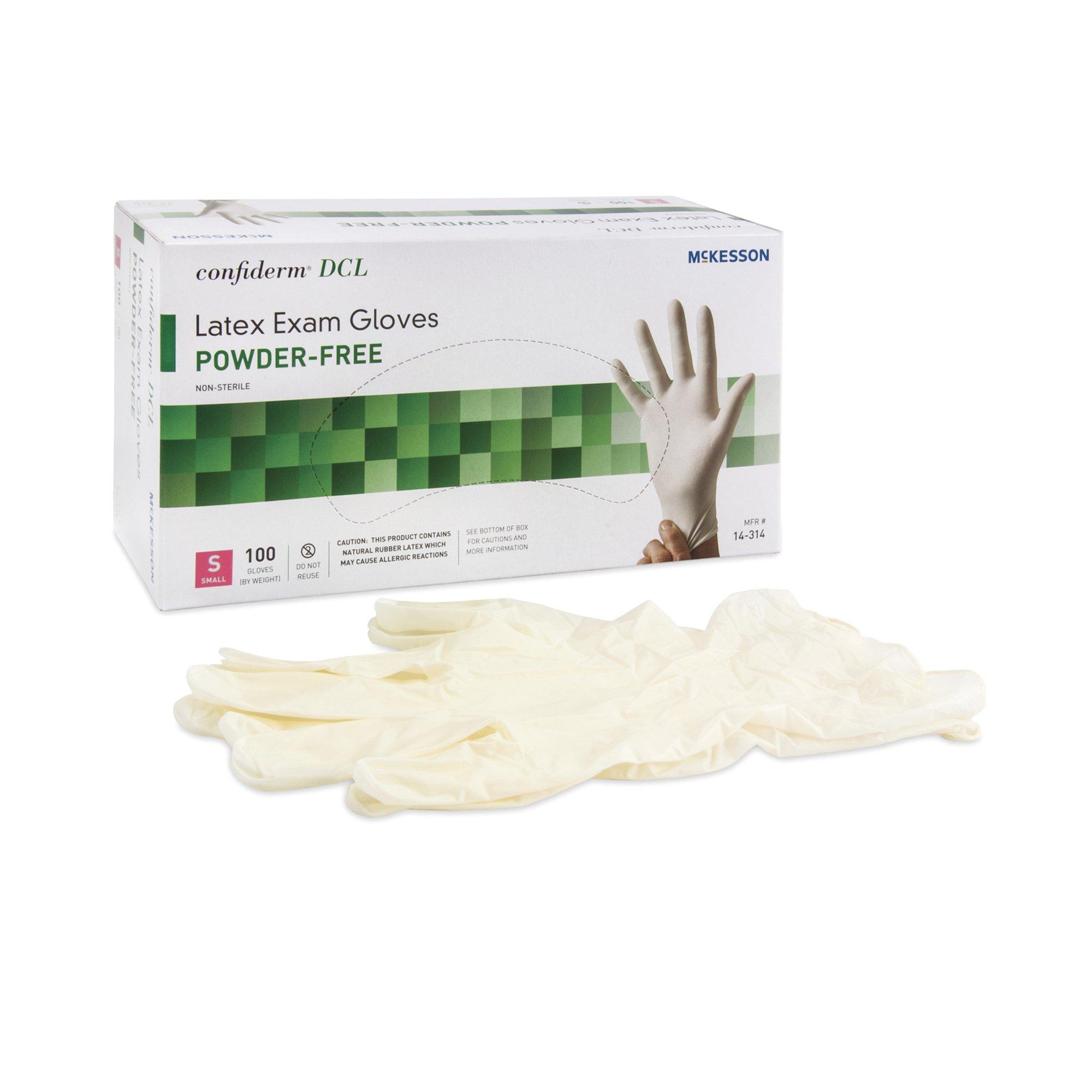 McKesson Confiderm DCL Latex Exam Gloves, Powder Free, 14-314, Small - Box of 100
